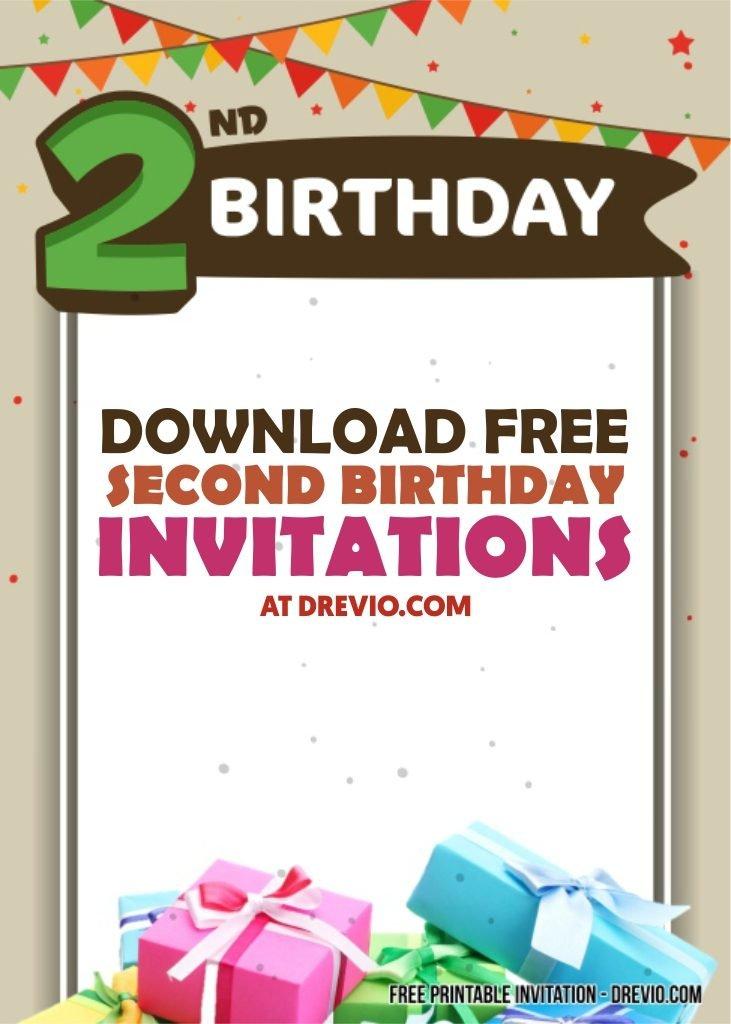 free printable 2nd birthday invitation