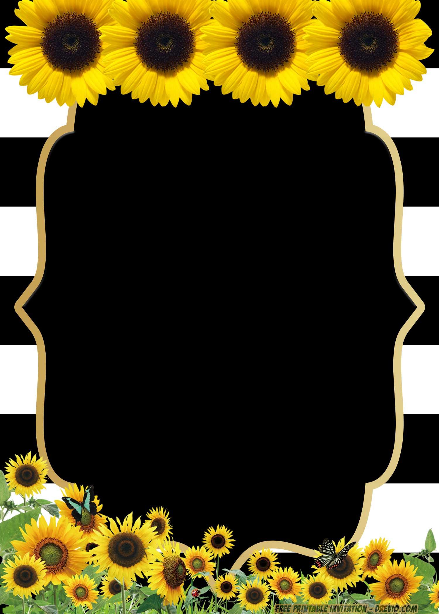 FREE Printable Sunflower Birthday Invitation Templates FREE Invitation Templates Drevio