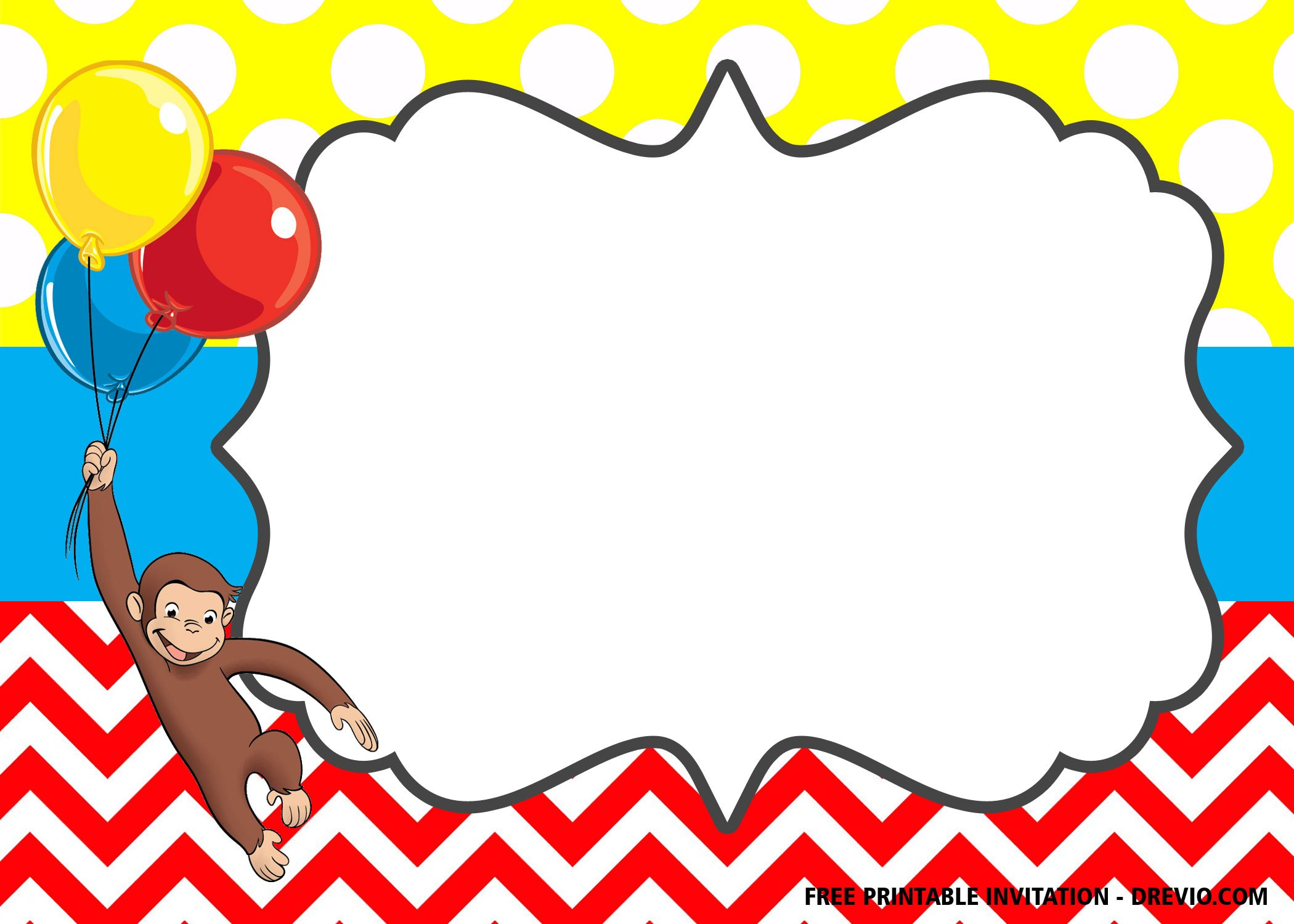 Free Curious George The Monkey Invitation Templates