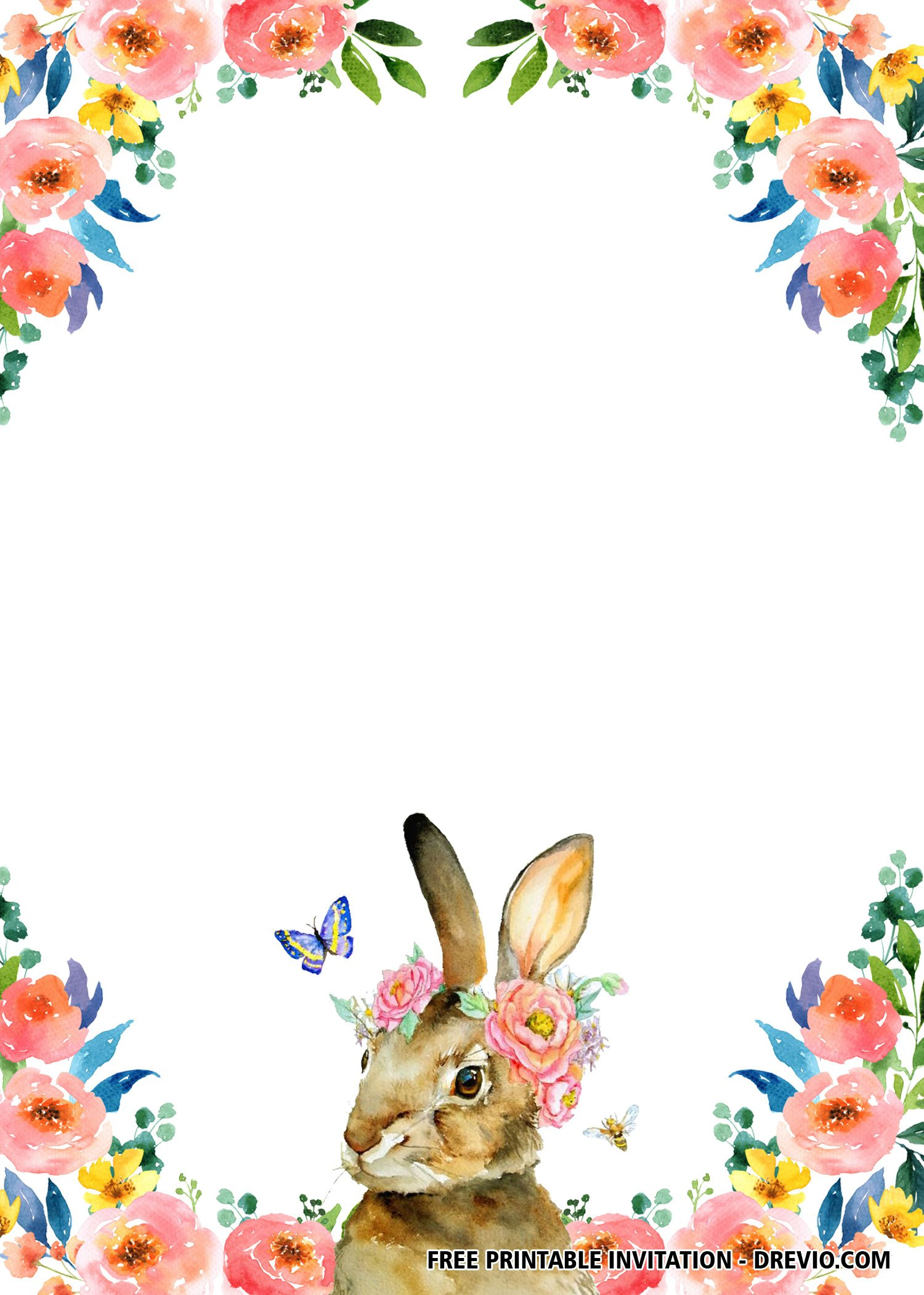 Free Printable Twin Rabbit Flower Invitation Templates