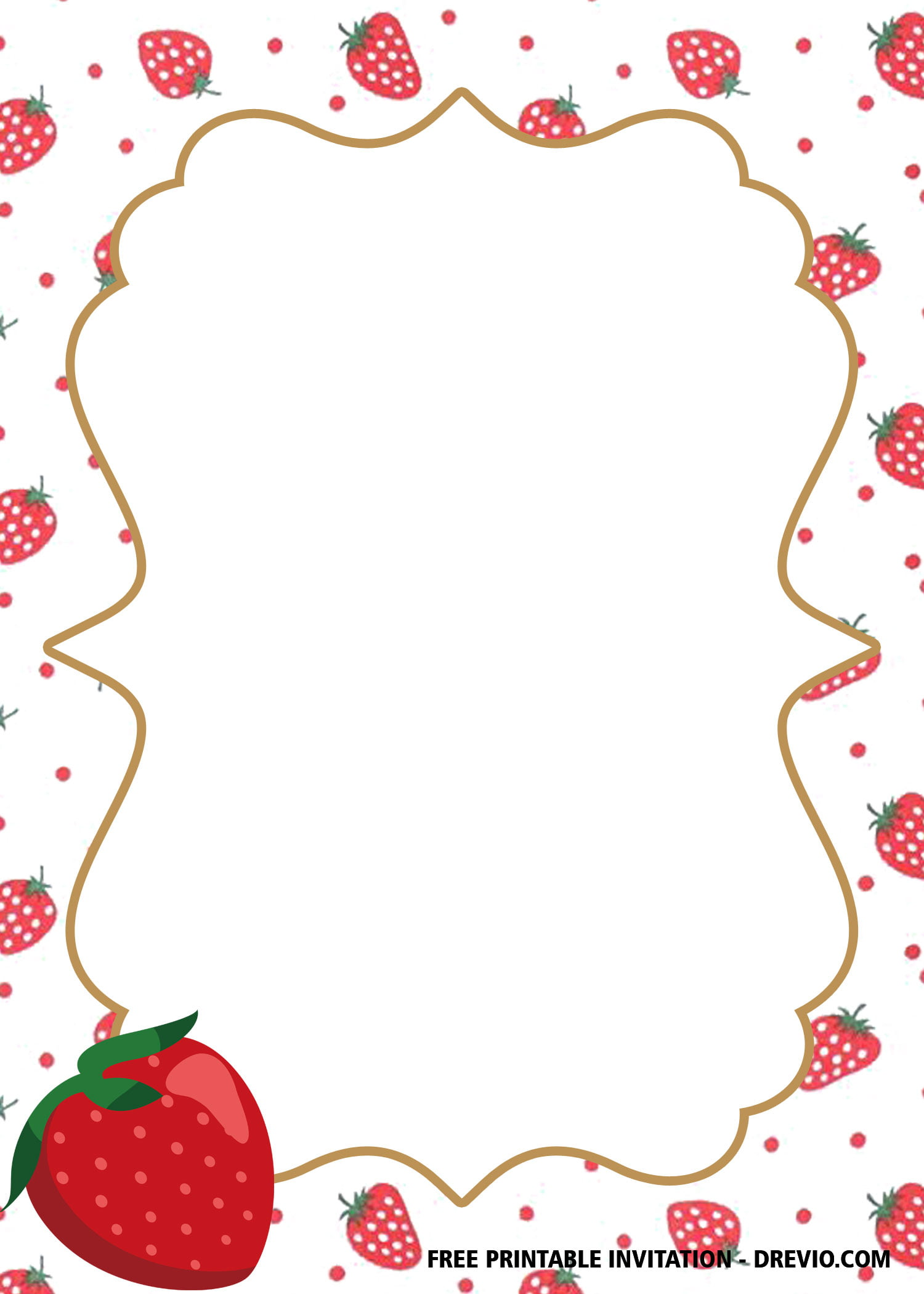 Free Printable Strawberry Birthday Invitation Templates