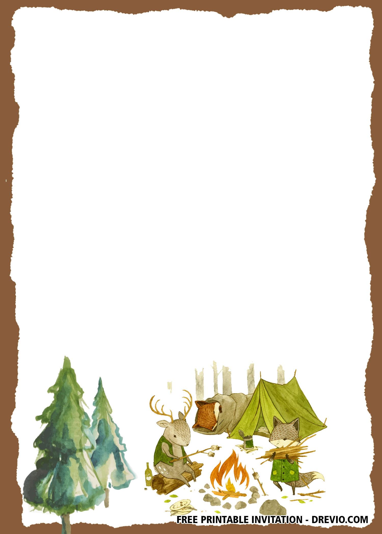 Free Camping Watercolor Birthday Invitation Templates