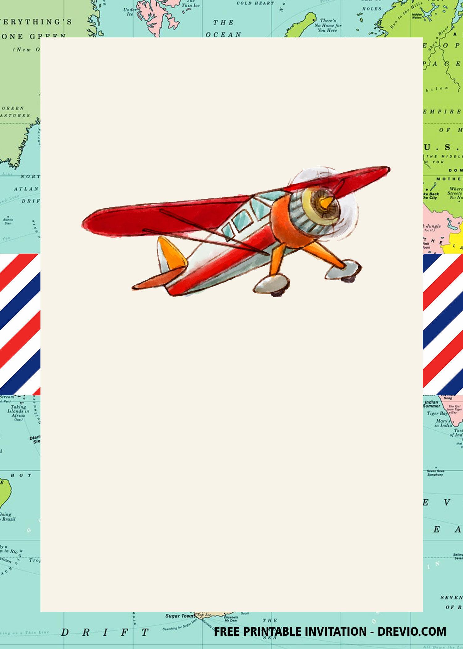 Free Flies Airplane Invitation Templates