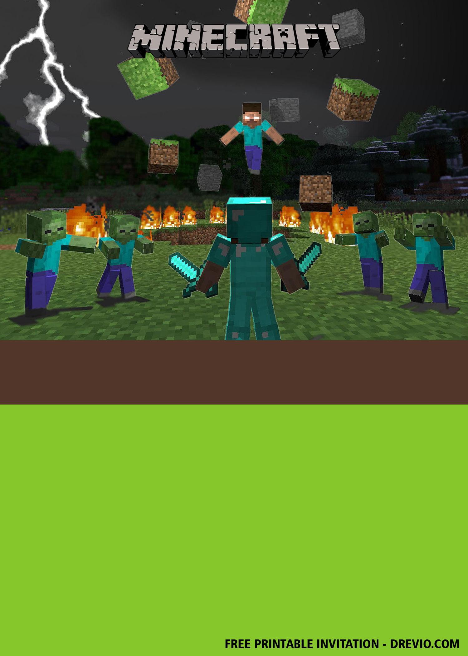 Free Printable Minecraft Invitation Templates