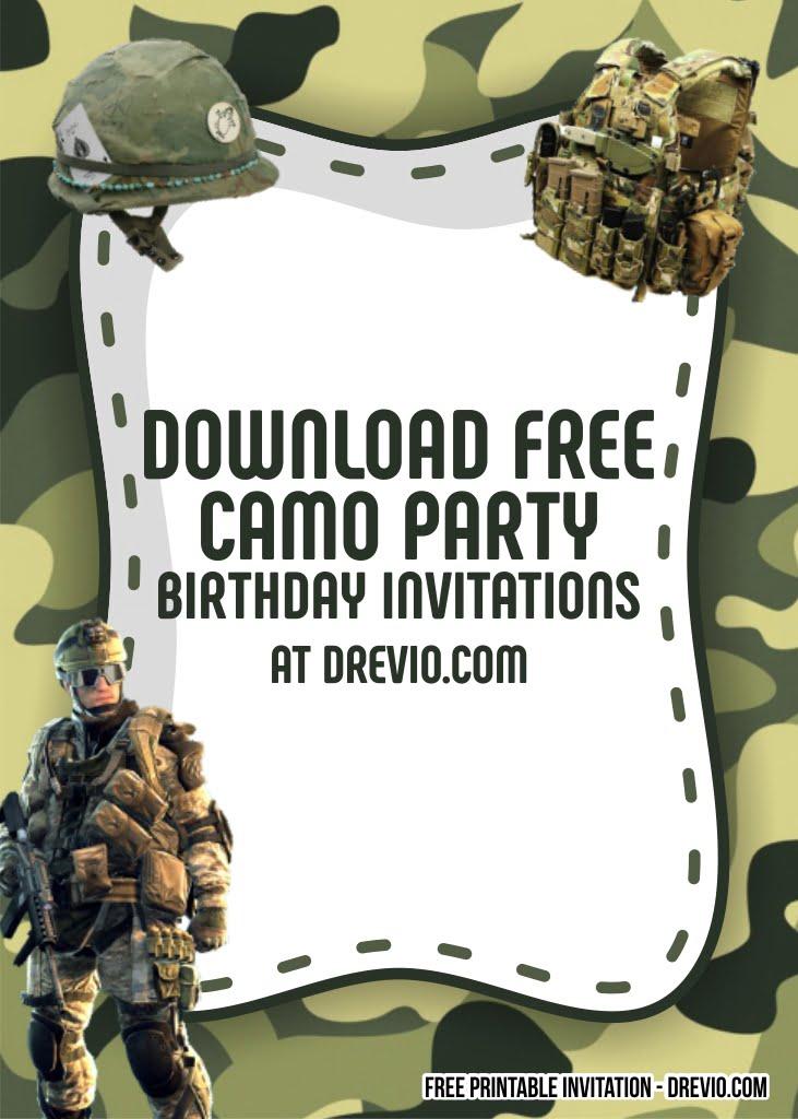 free printable camo party invitation