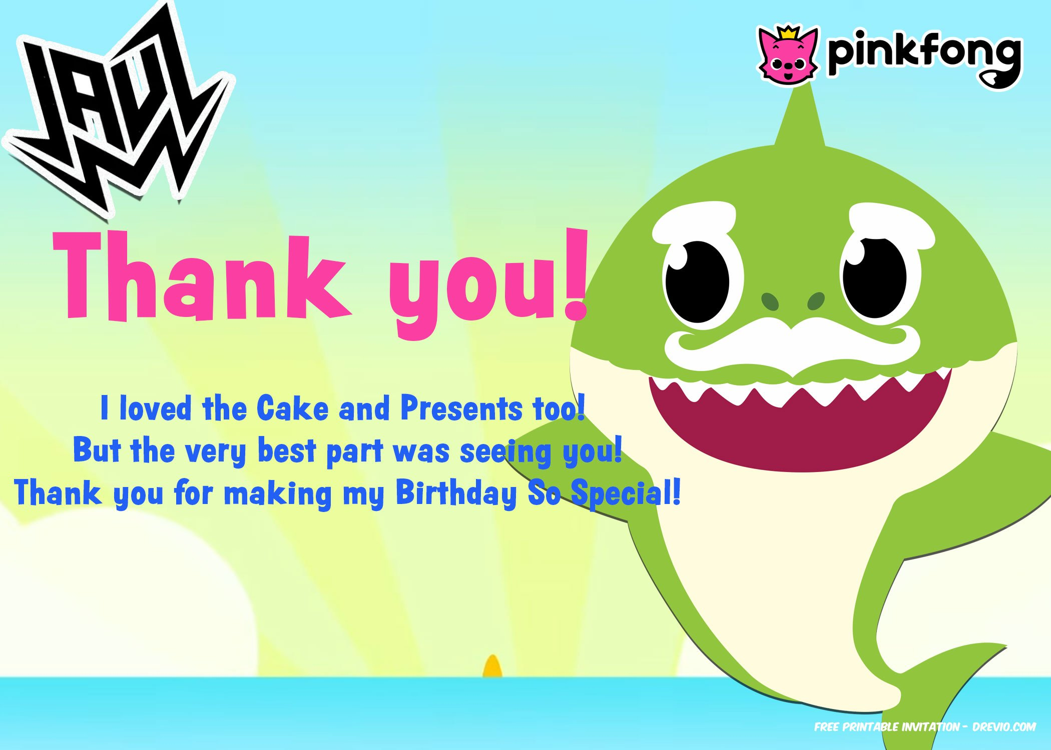 Free 1st Baby Shark Ft Jauz Invitation Templates Thank