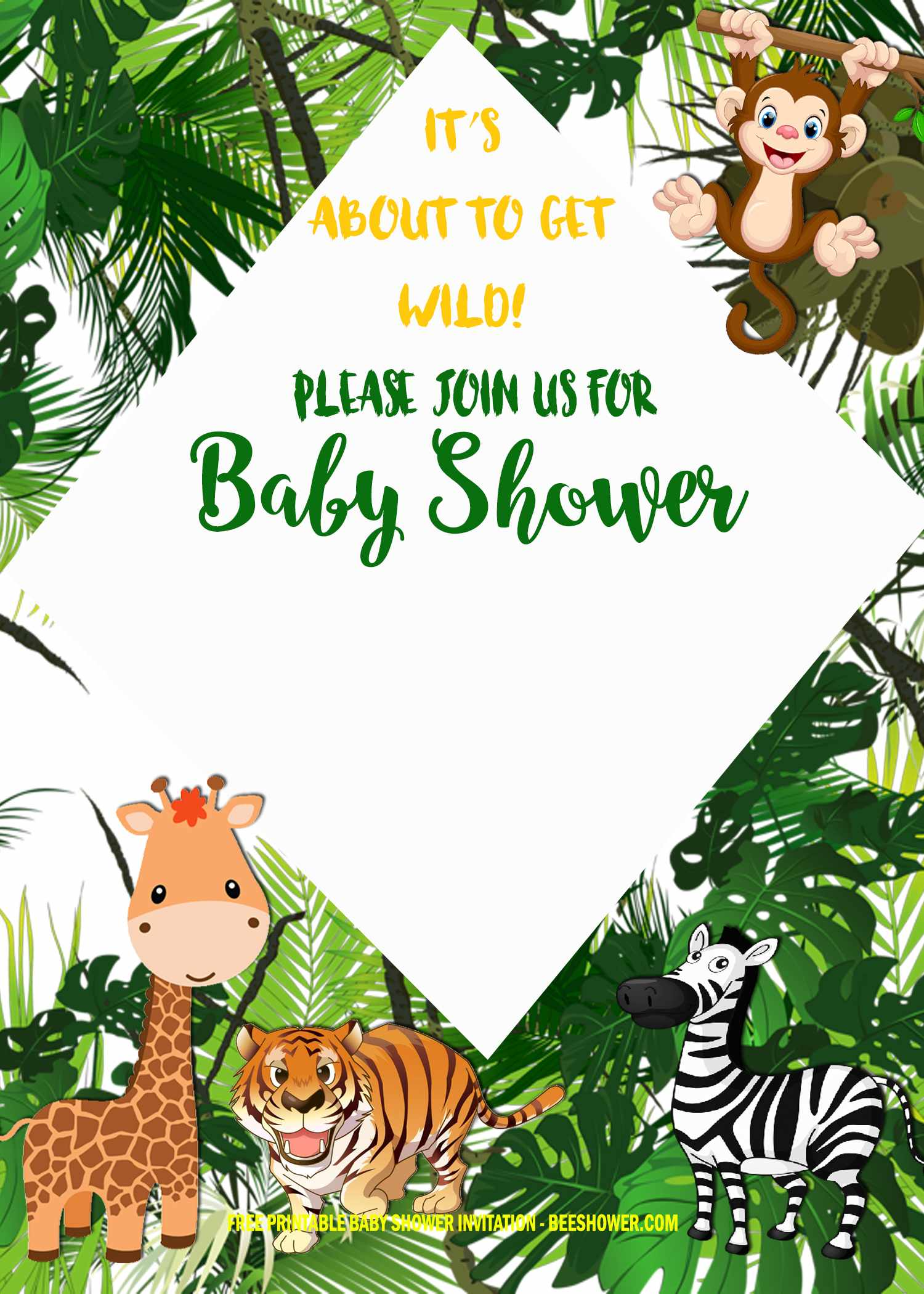 Free Safari Baby Shower Invitation Templates