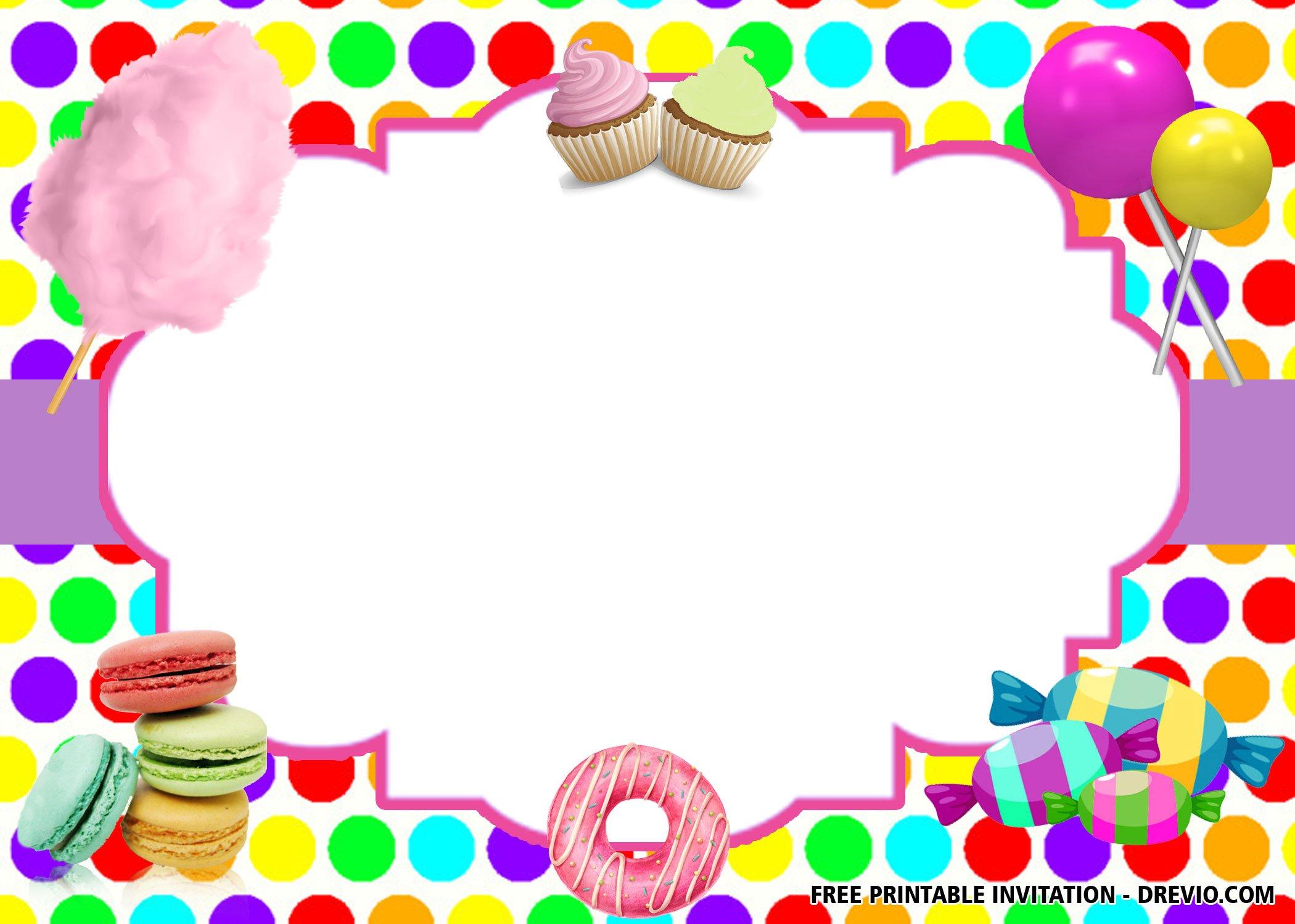 free sweet shop birthday invitation