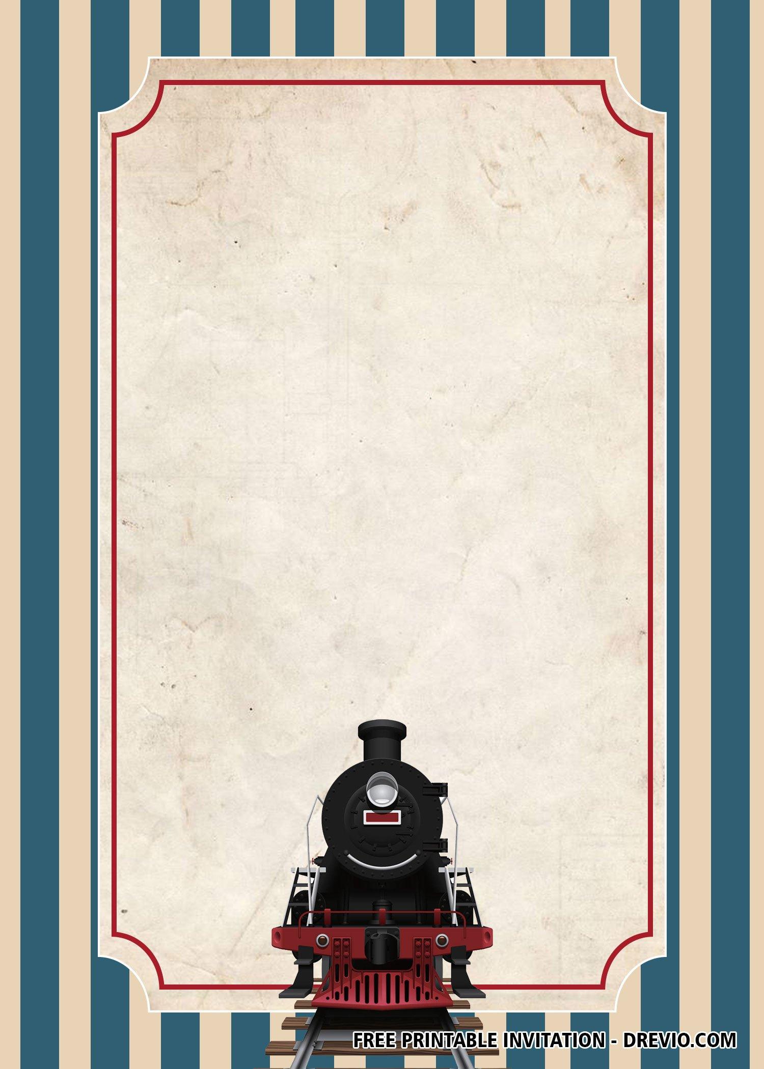 free classic train invitation templates