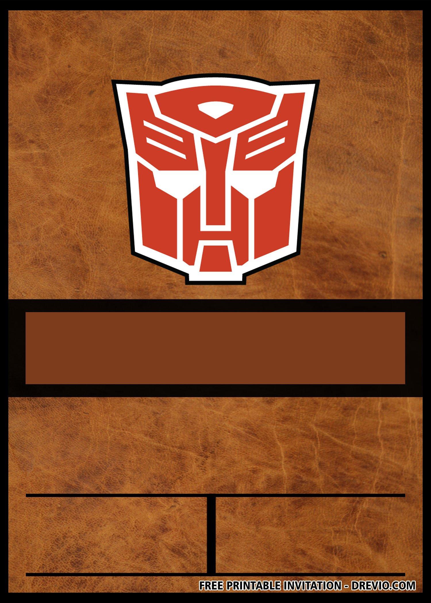 free transformers invitation templates