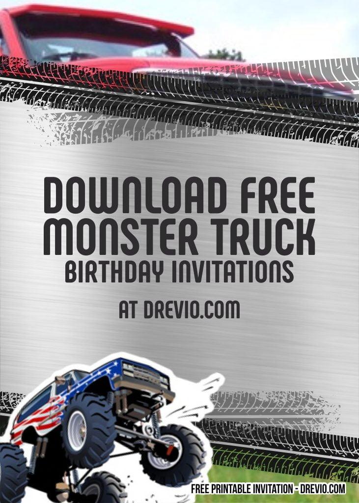 free monster truck invitation templates