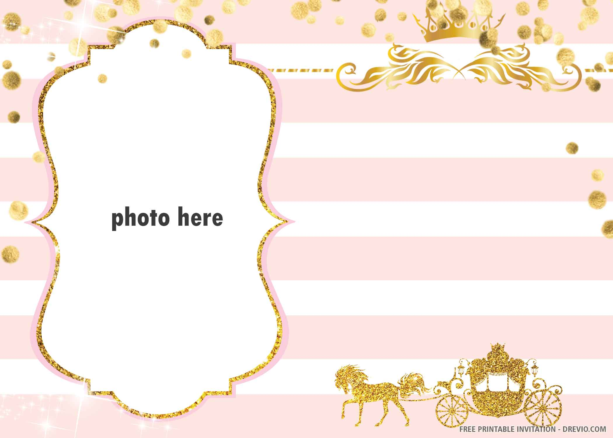 Free Printable Golden Carriage Invitation Template Download Hundreds Free Printable Birthday Invitation Templates