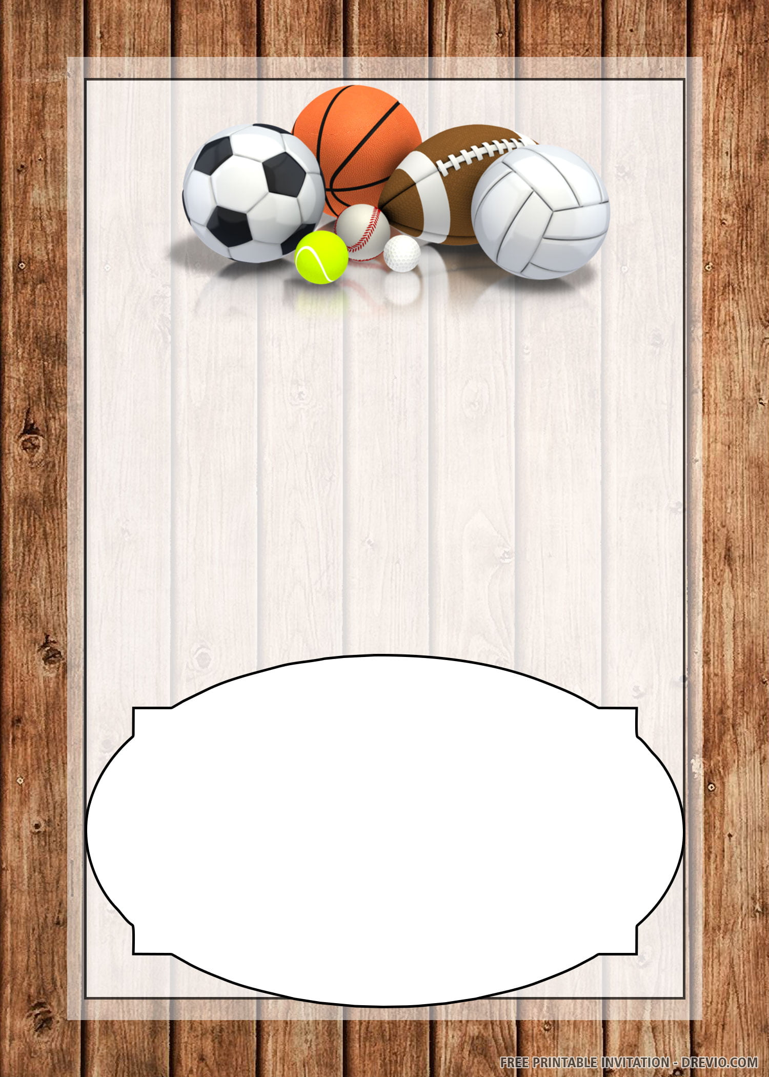 Free Printable Sport Equipment Invitation Template