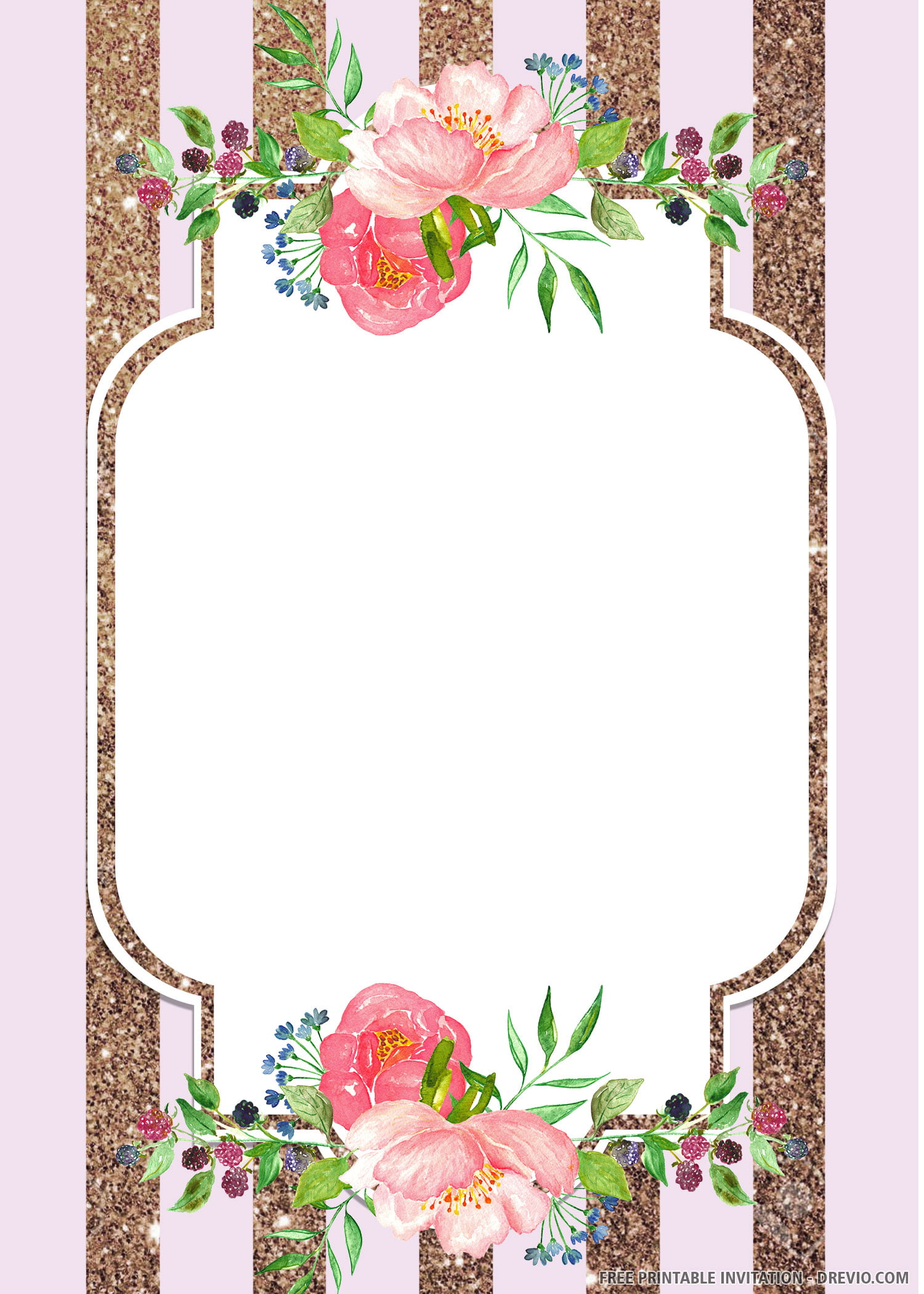 Free Printable Roses Baby Shower Invitation Template