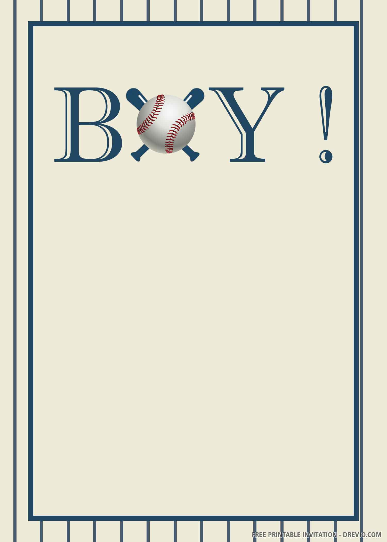 Free Printable Boy Baseball Invitation Template