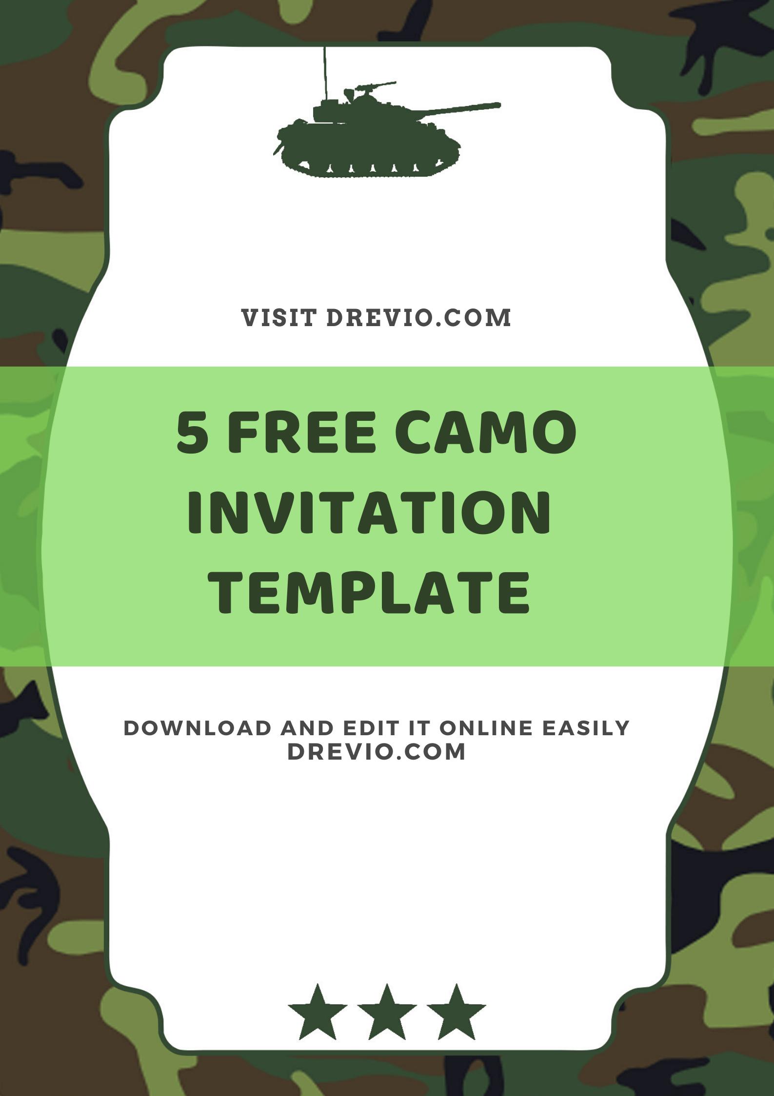 Free Printable Camo Army Kids Birthday Invitation