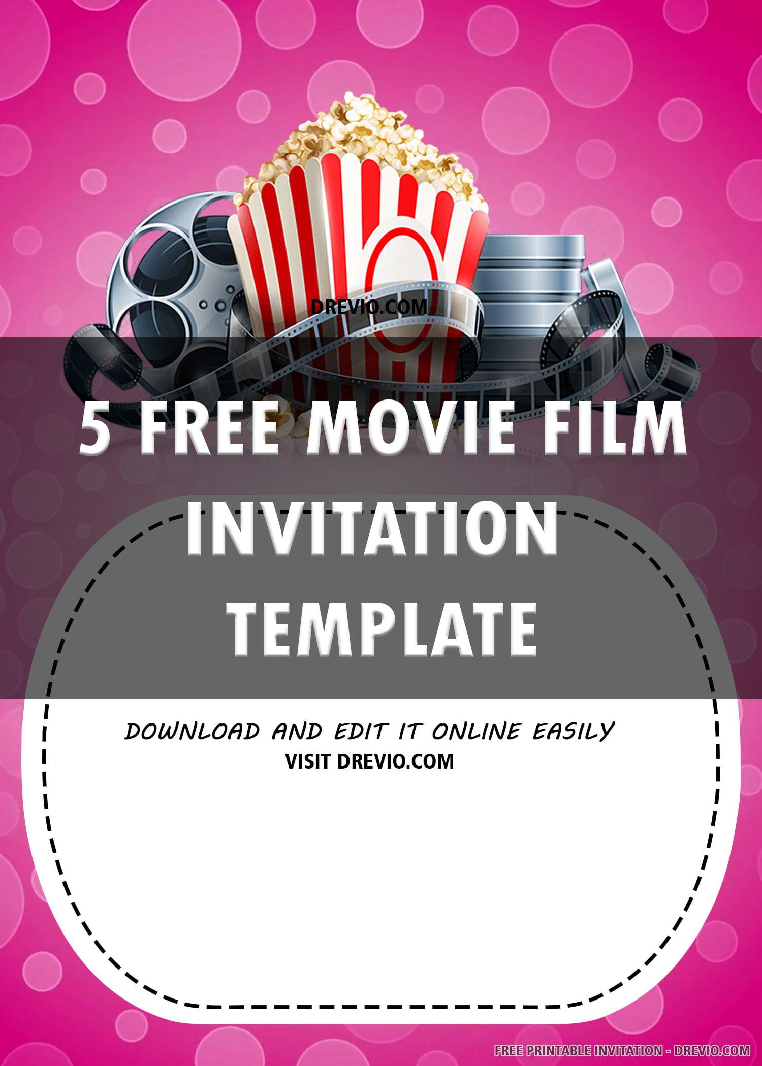 Free Printable Pink Movie Invitation Templates