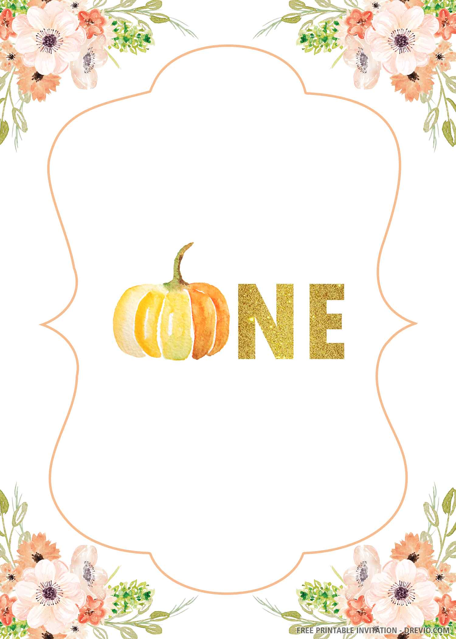 Free Printable Little Pumpkin First Birthday Invitation