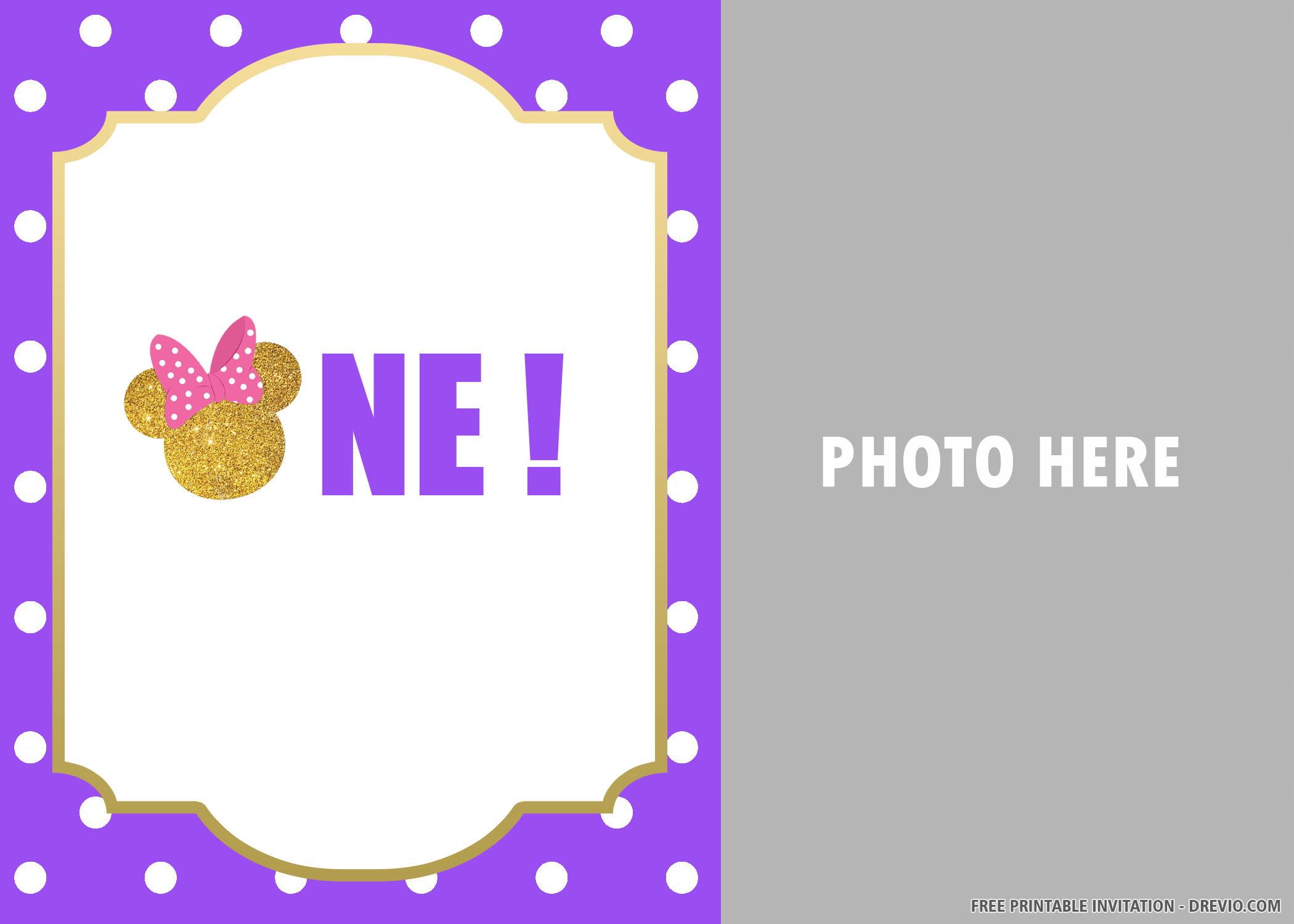 Free Printable Simple Minnie Mouse Invitation Templates