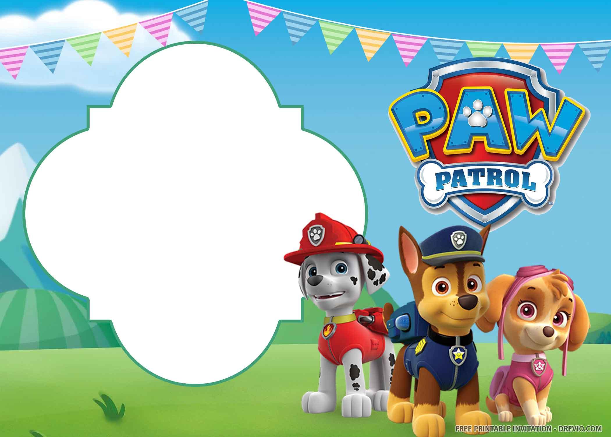 Free Printable Paw Patrol Birthday Invitation Template