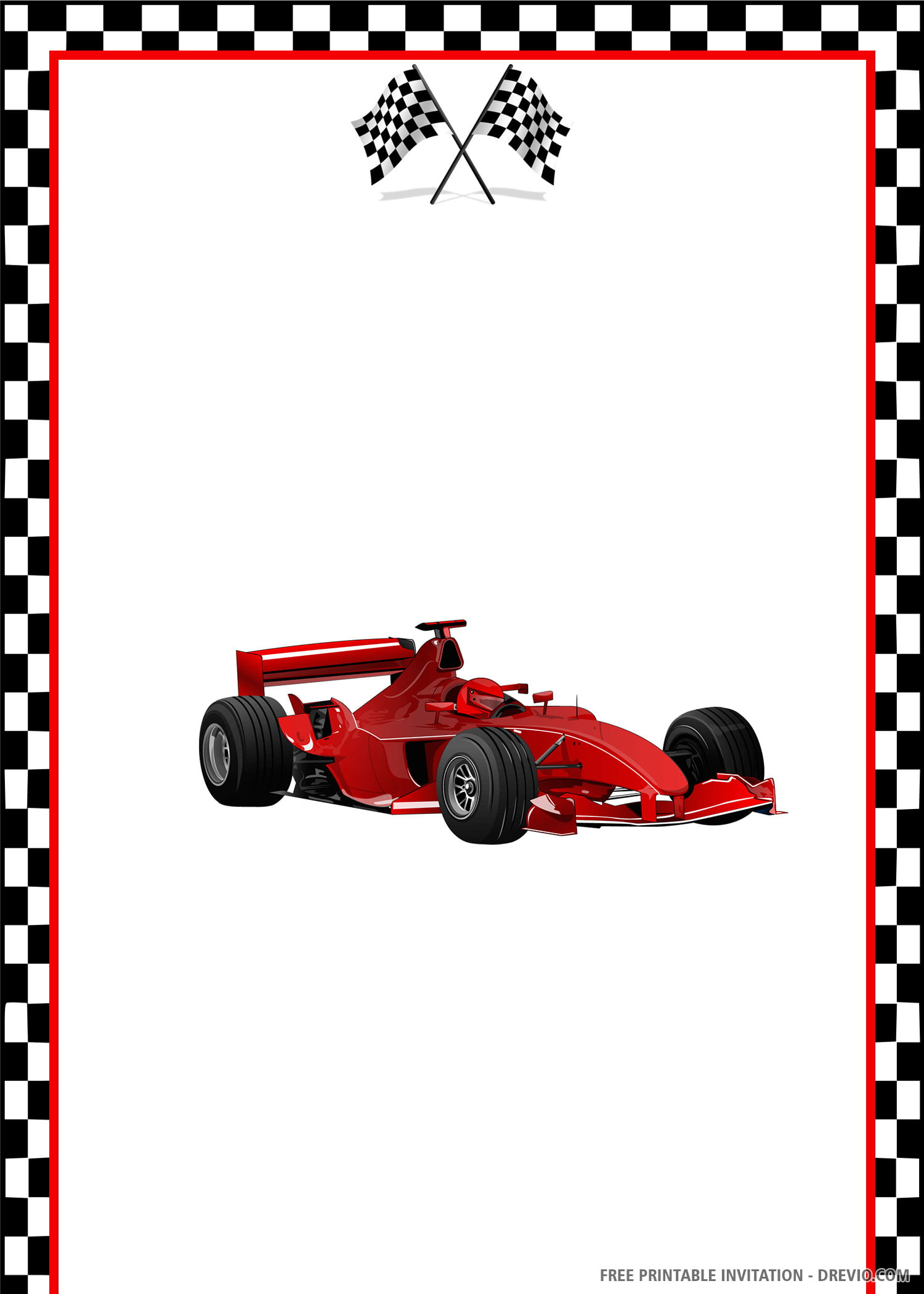racing car birthday invitation template