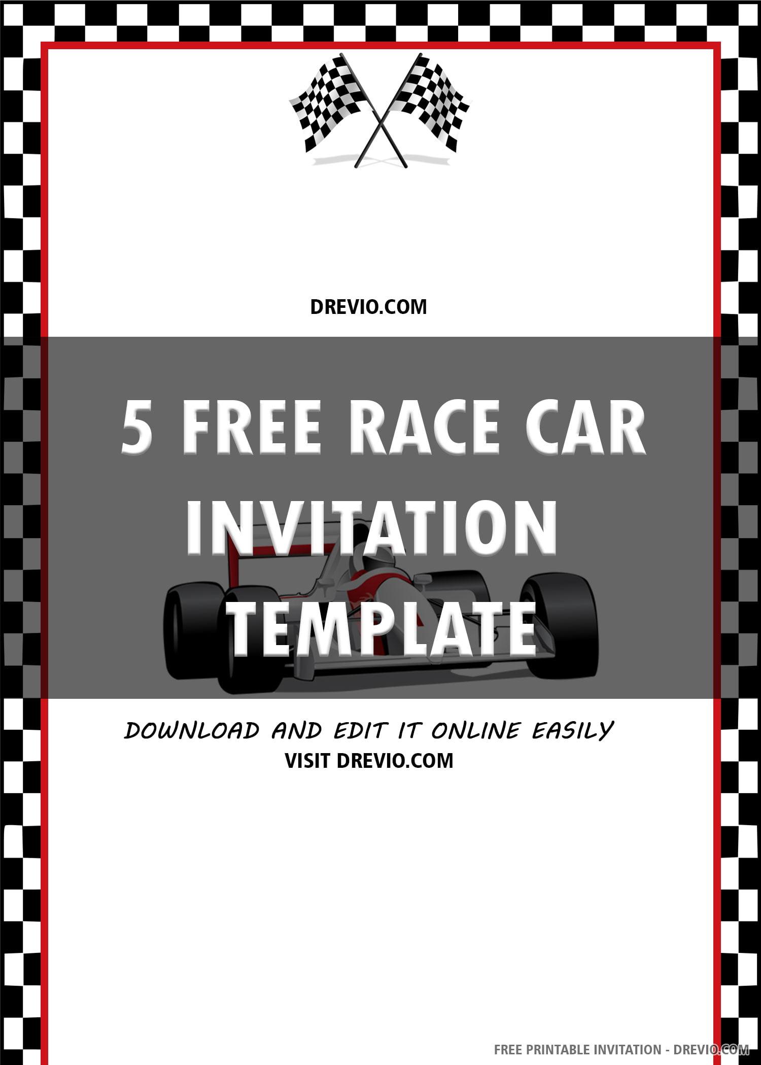 race car invitation invite 6 download