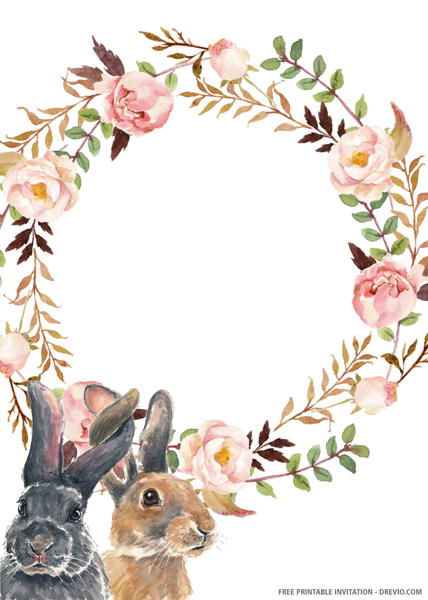 cute bunny birthday invitation template