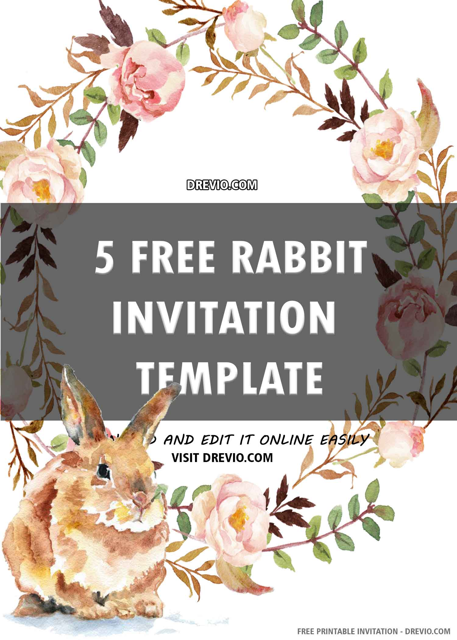 Free Printable Cute Bunny Birthday Invitation Template