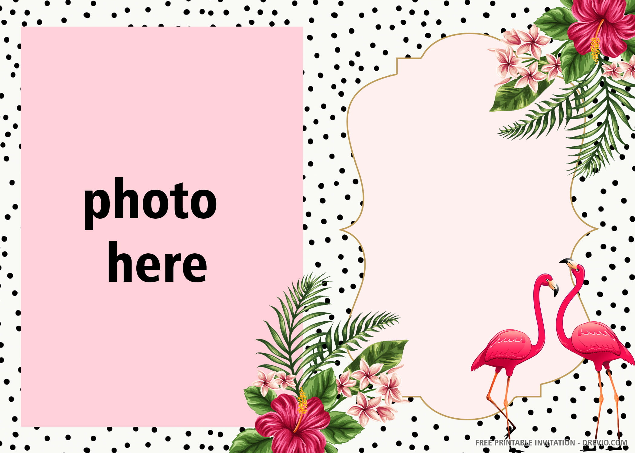 Free Printable Pink Flamingo Invitation Templates