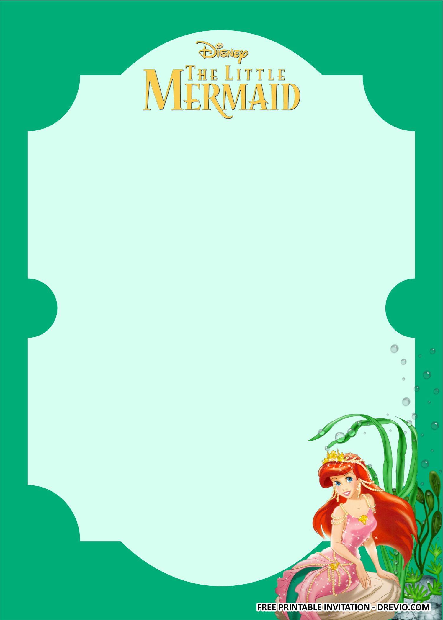ariel little mermaid invitation