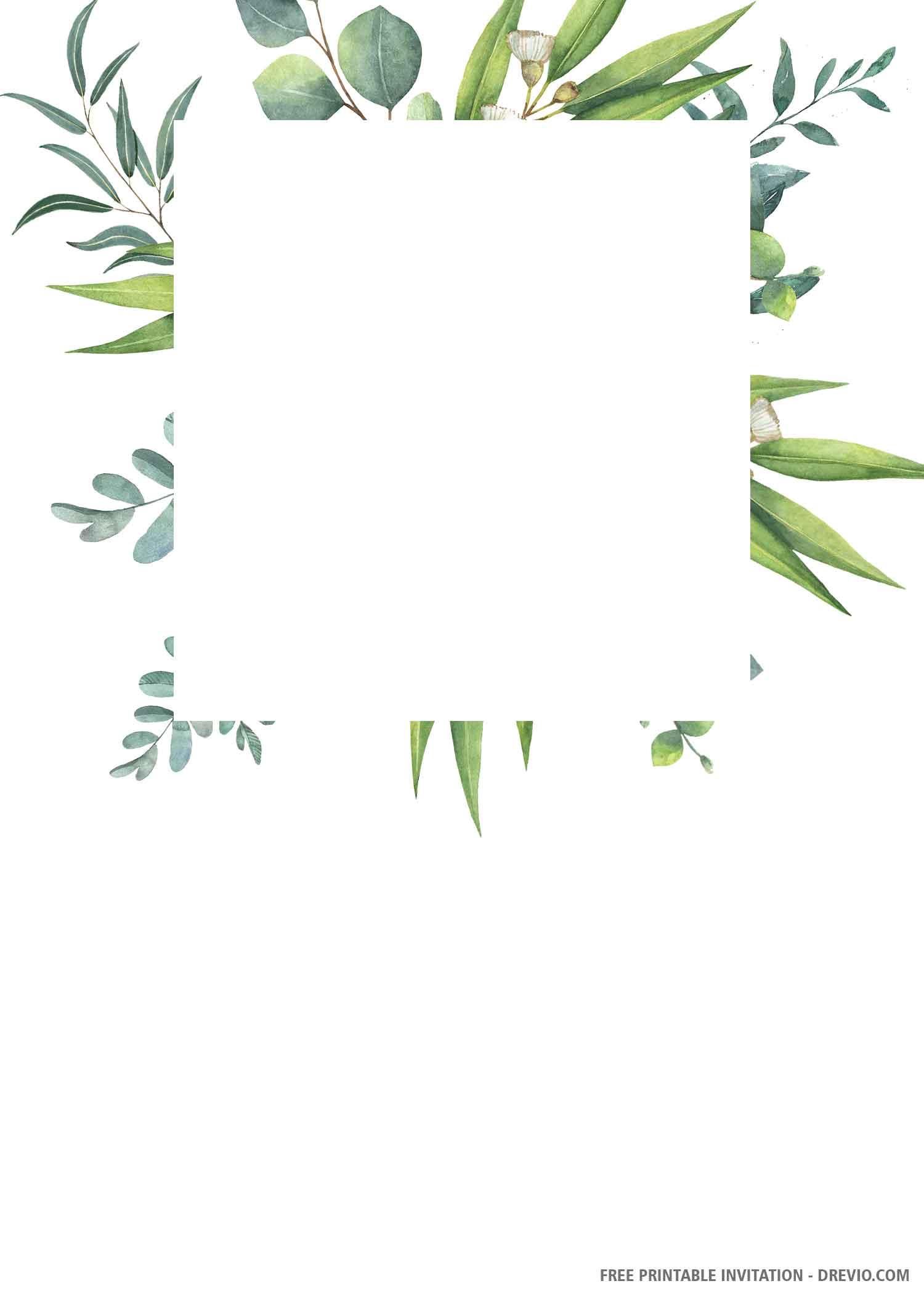 Free Printable Green Leaves Wedding Invitation