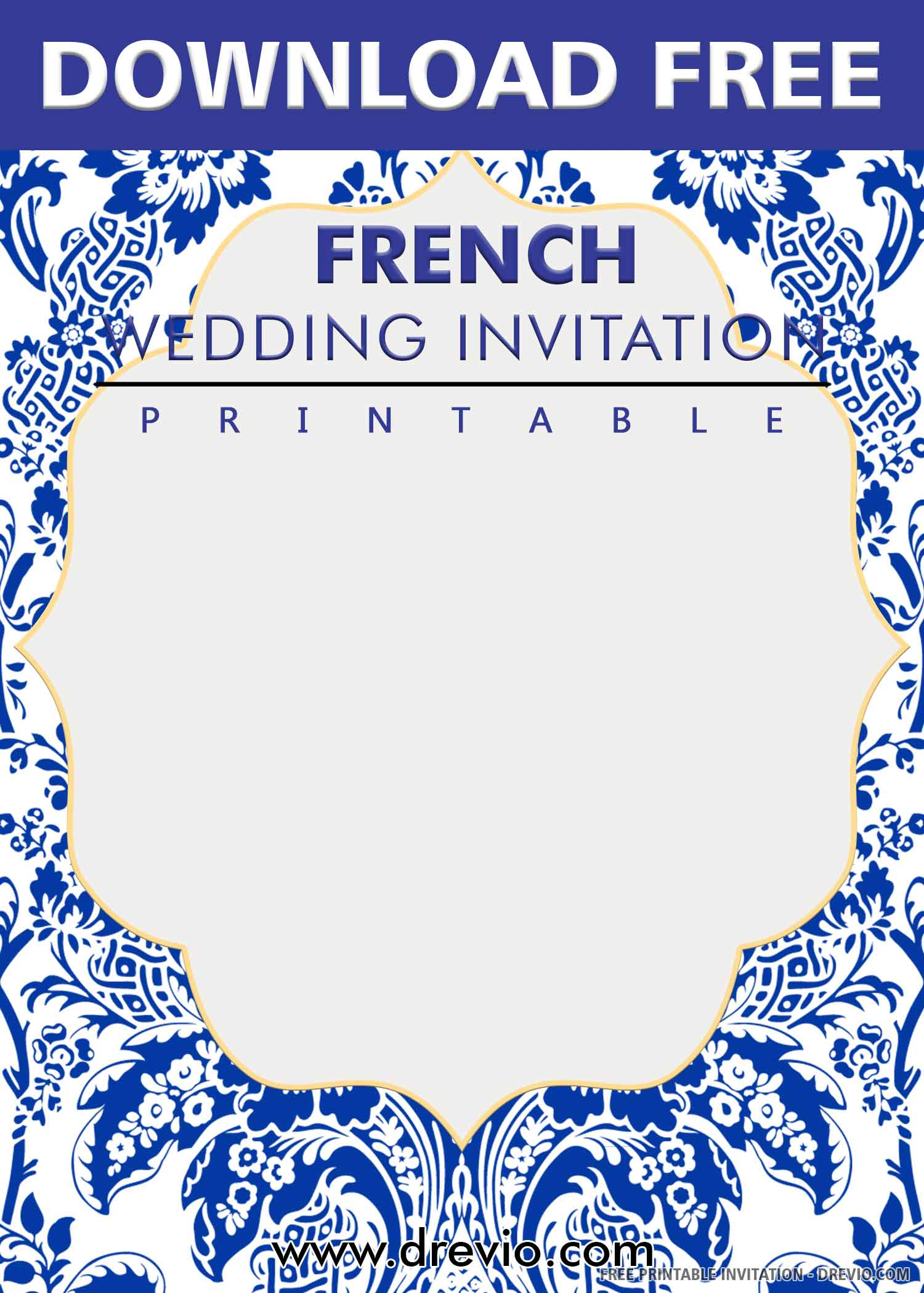 Free Printable French Blue Tile Wedding Invitation