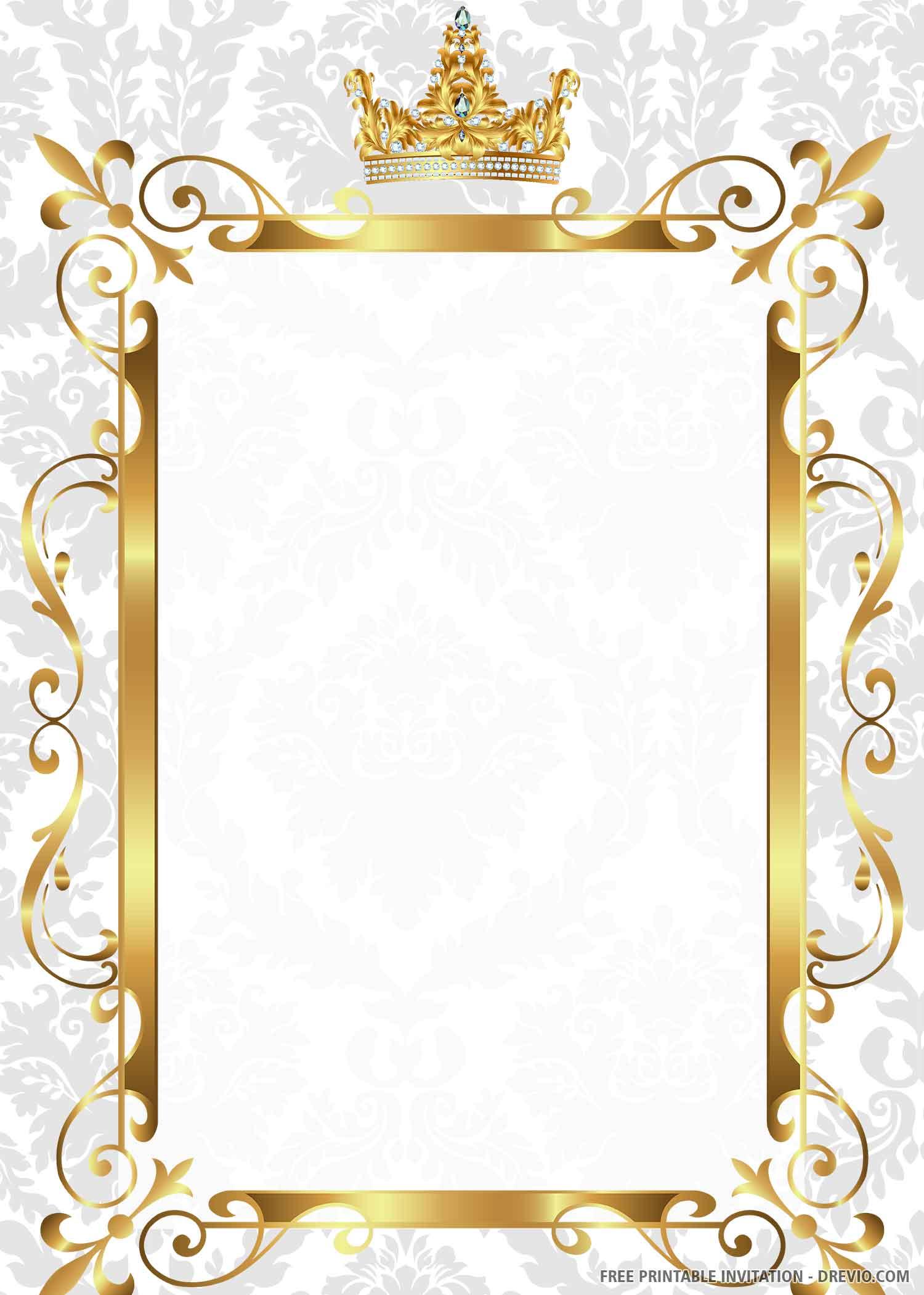 Free Printable Gold Royal Wedding Invitation Templates