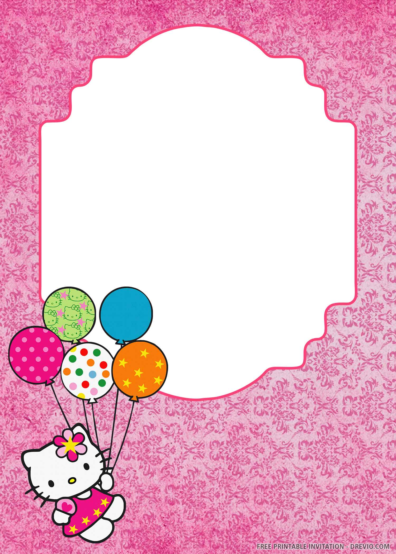 Free Printable Lovely Hello Kitty Birthday Invitation