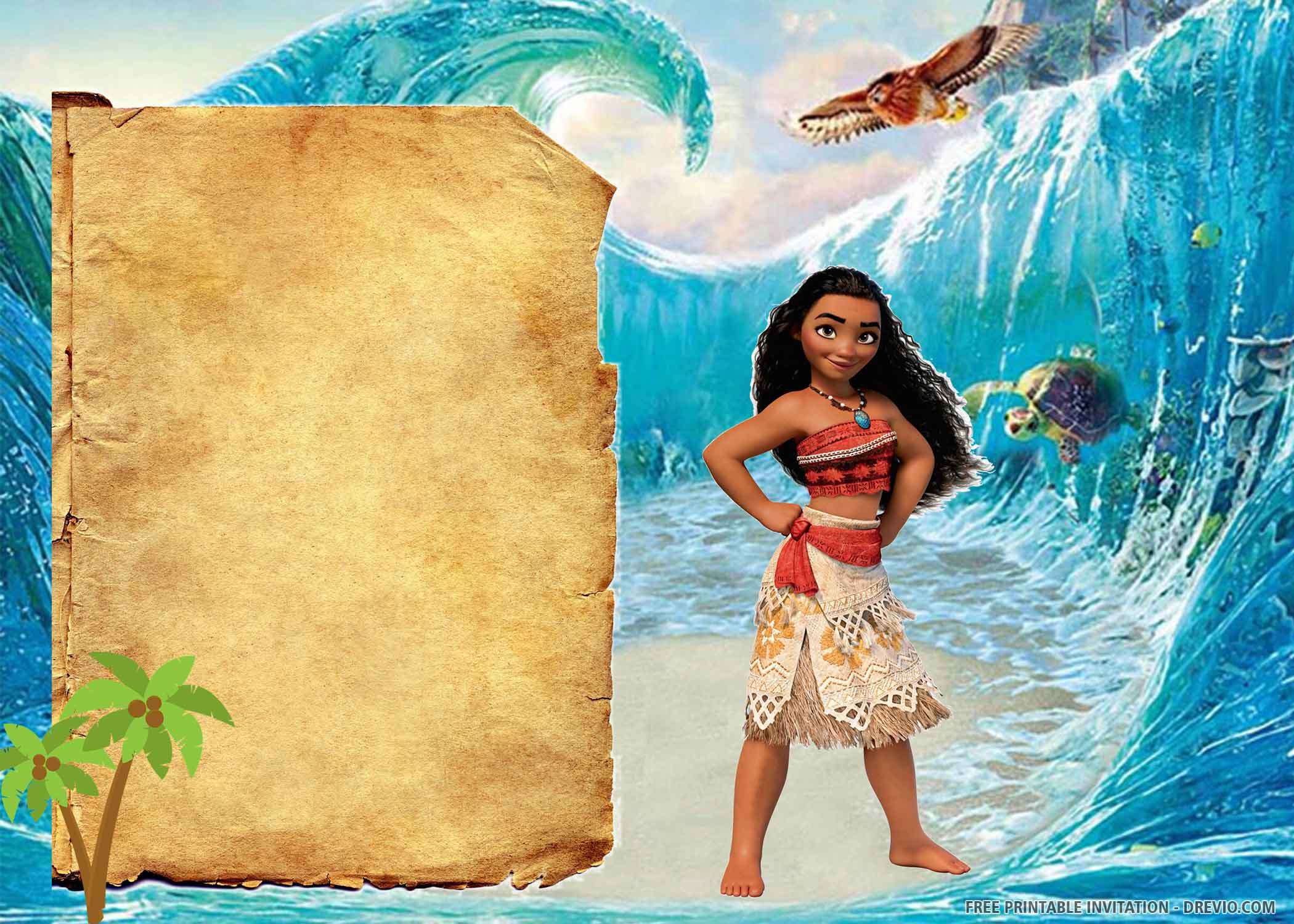 Free Printable The Brave Moana Birthday Invitation