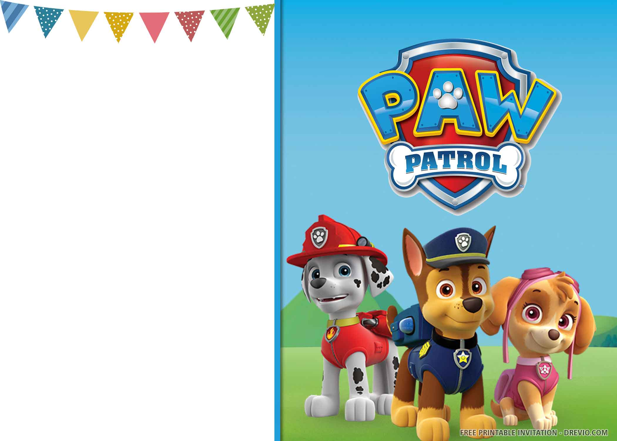 cheerful paw patrol birthday invitation