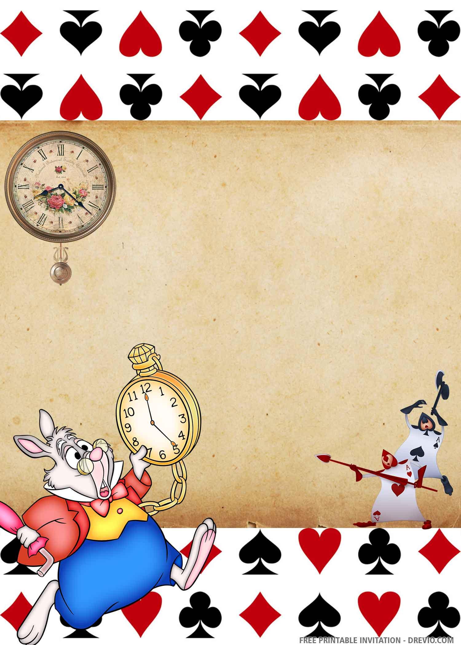 Free Printable Alice In The Wonderland Birthday