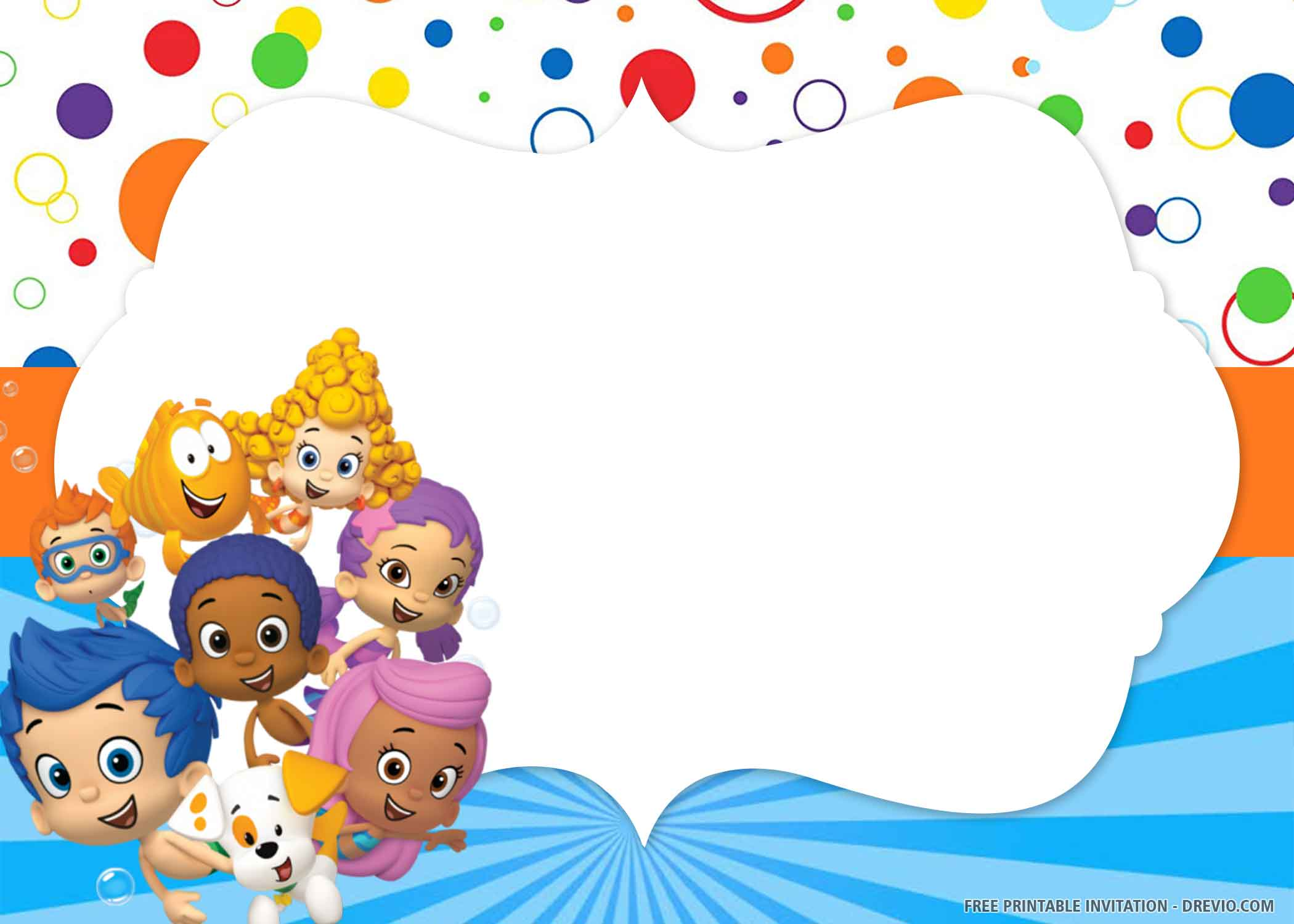 Free Printable Bubble Guppies Birthday Invitation