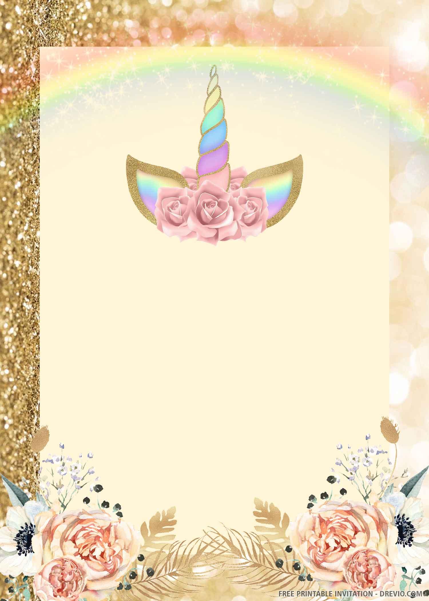 unicorn birthday invitation download