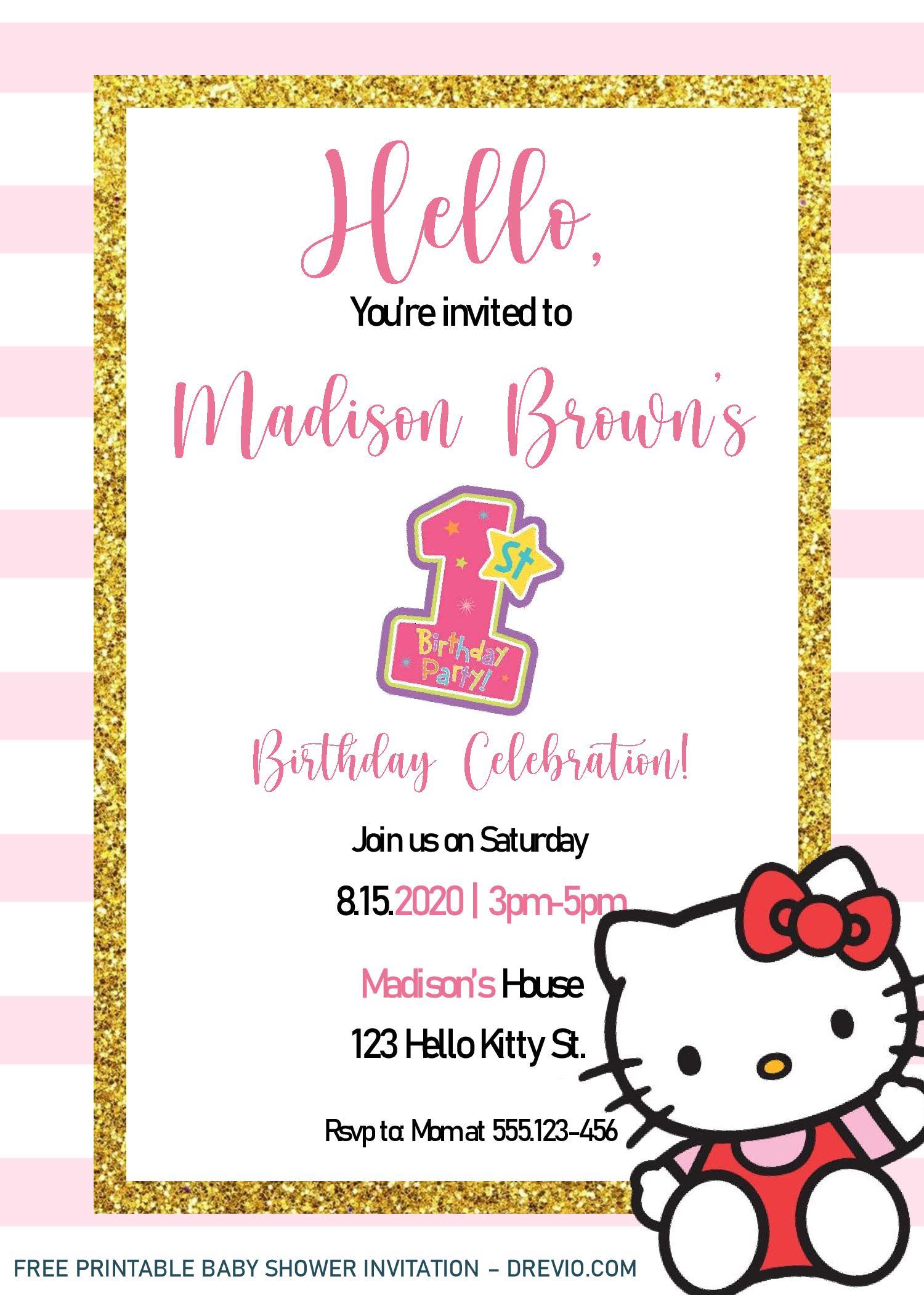 hello kitty invitation templates