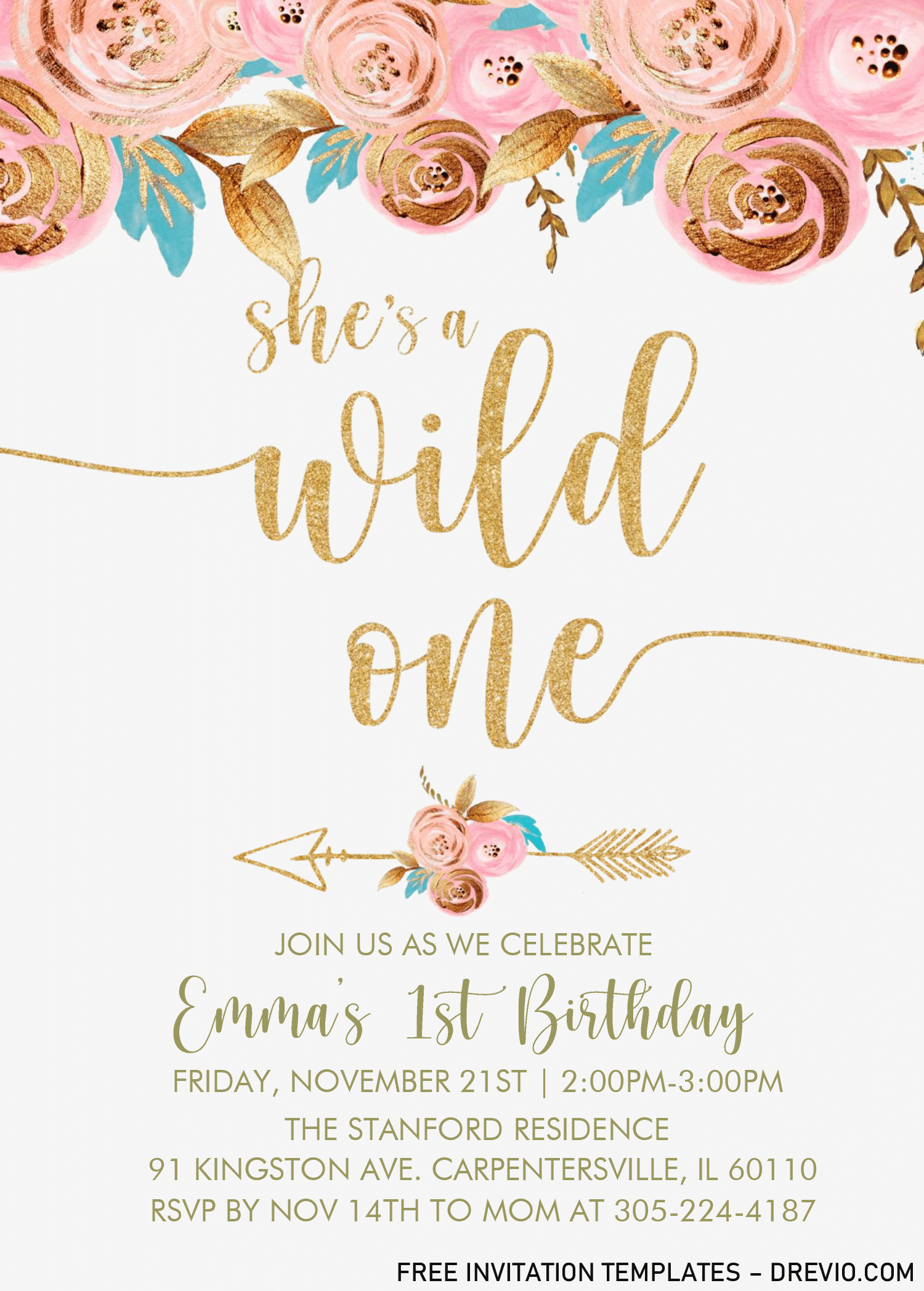 gold floral wild one invitation