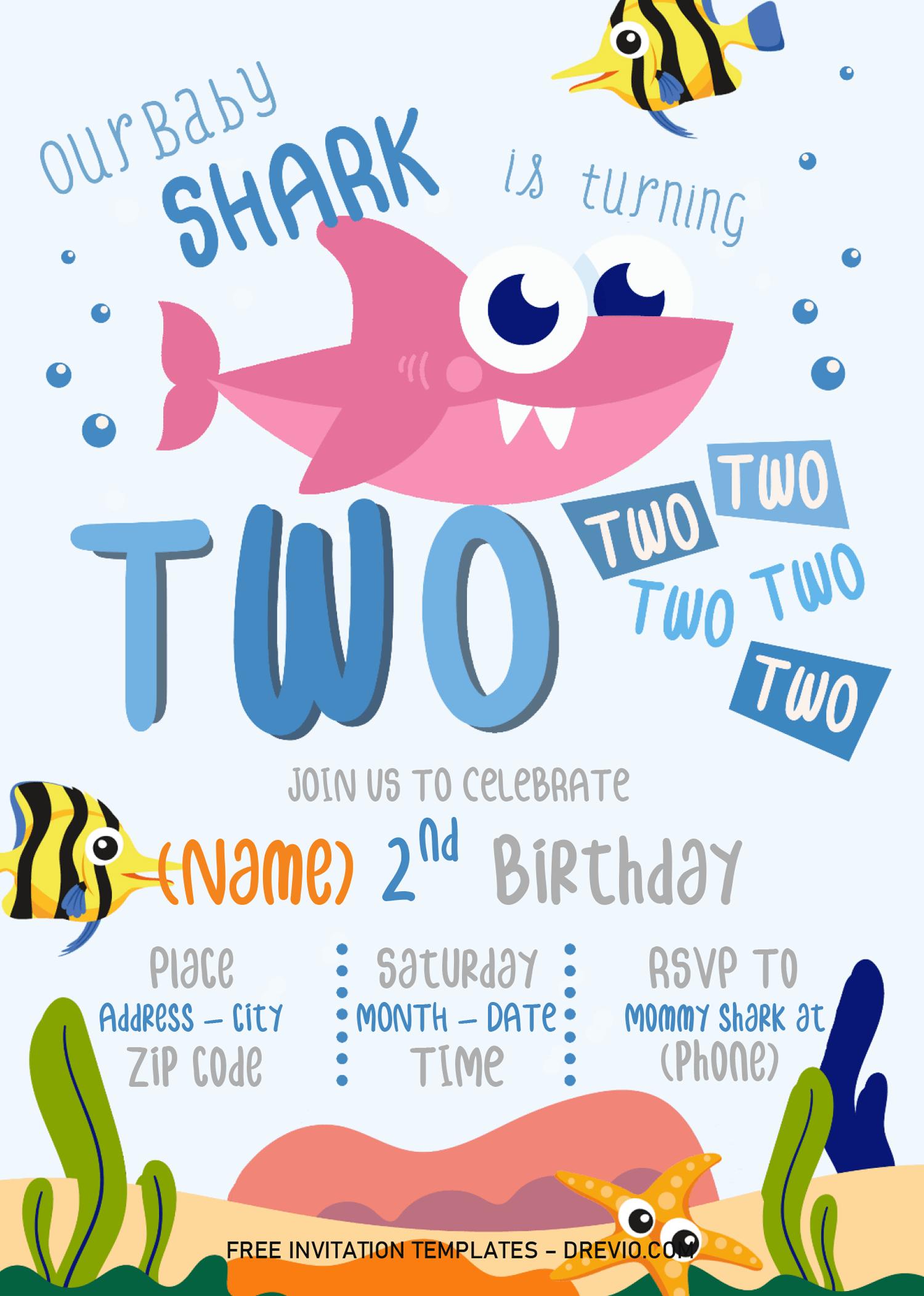 Baby Shark Invitation Templates Editable With Microsoft Word Download Hundreds Free Printable Birthday Invitation Templates