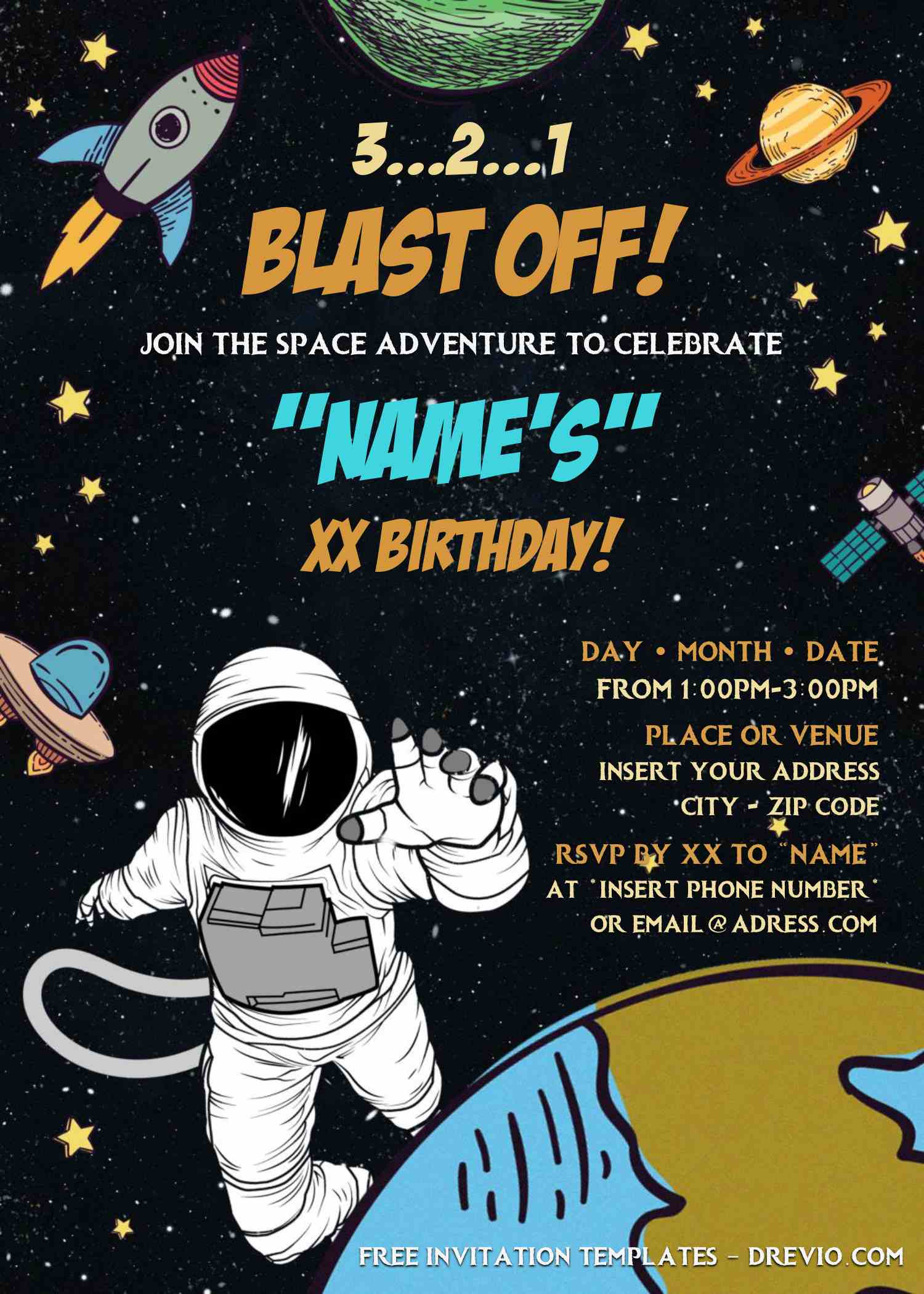 free outer space birthday invitation