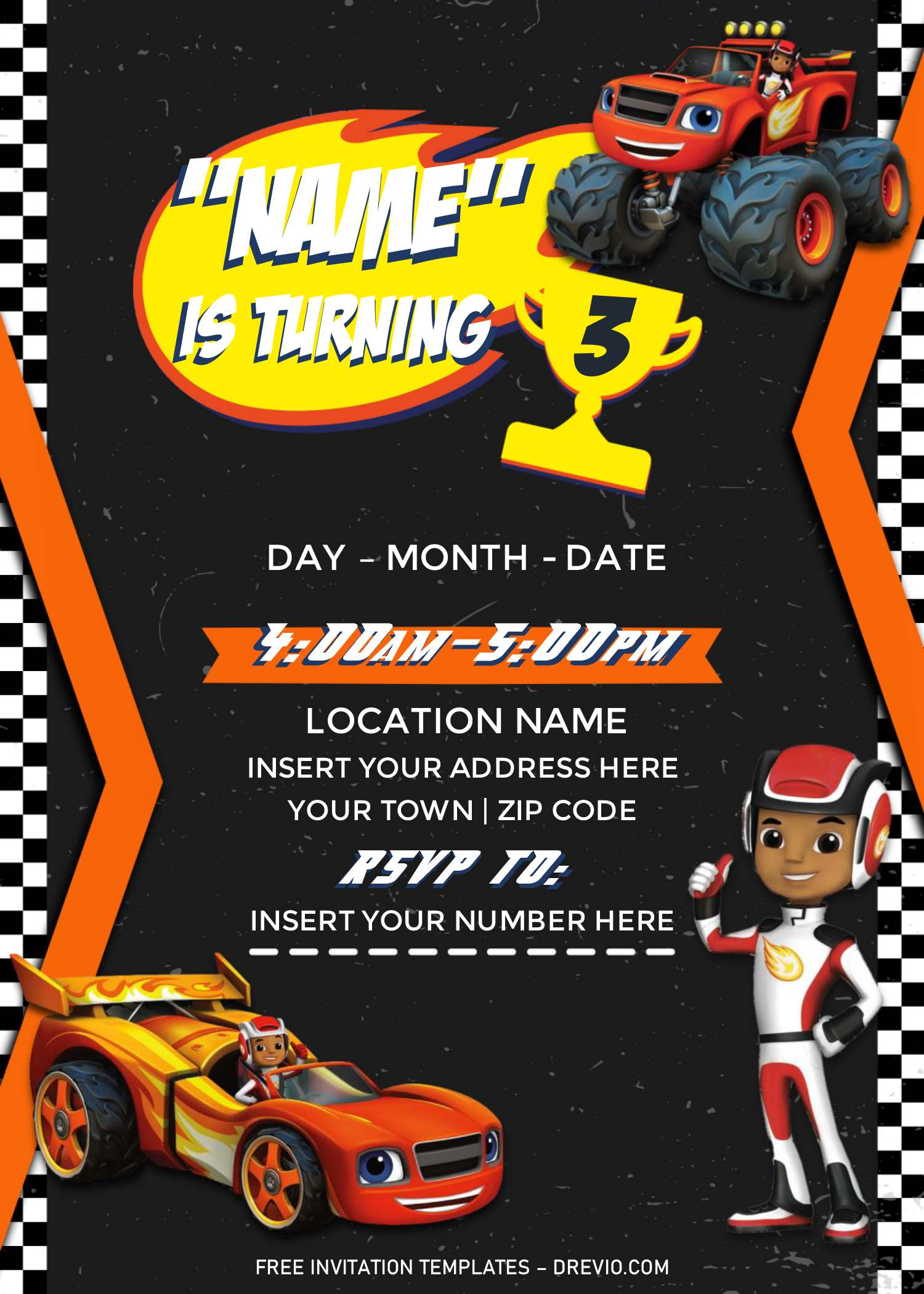 Free Blaze And The Monster Machines Birthday Invitation Templates For Word Download Hundreds Free Printable Birthday Invitation Templates