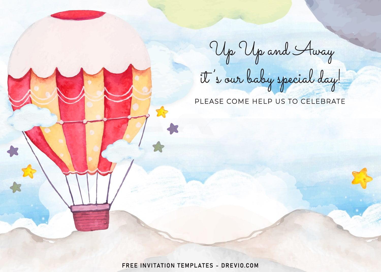 7 watercolor hot air balloons birthday