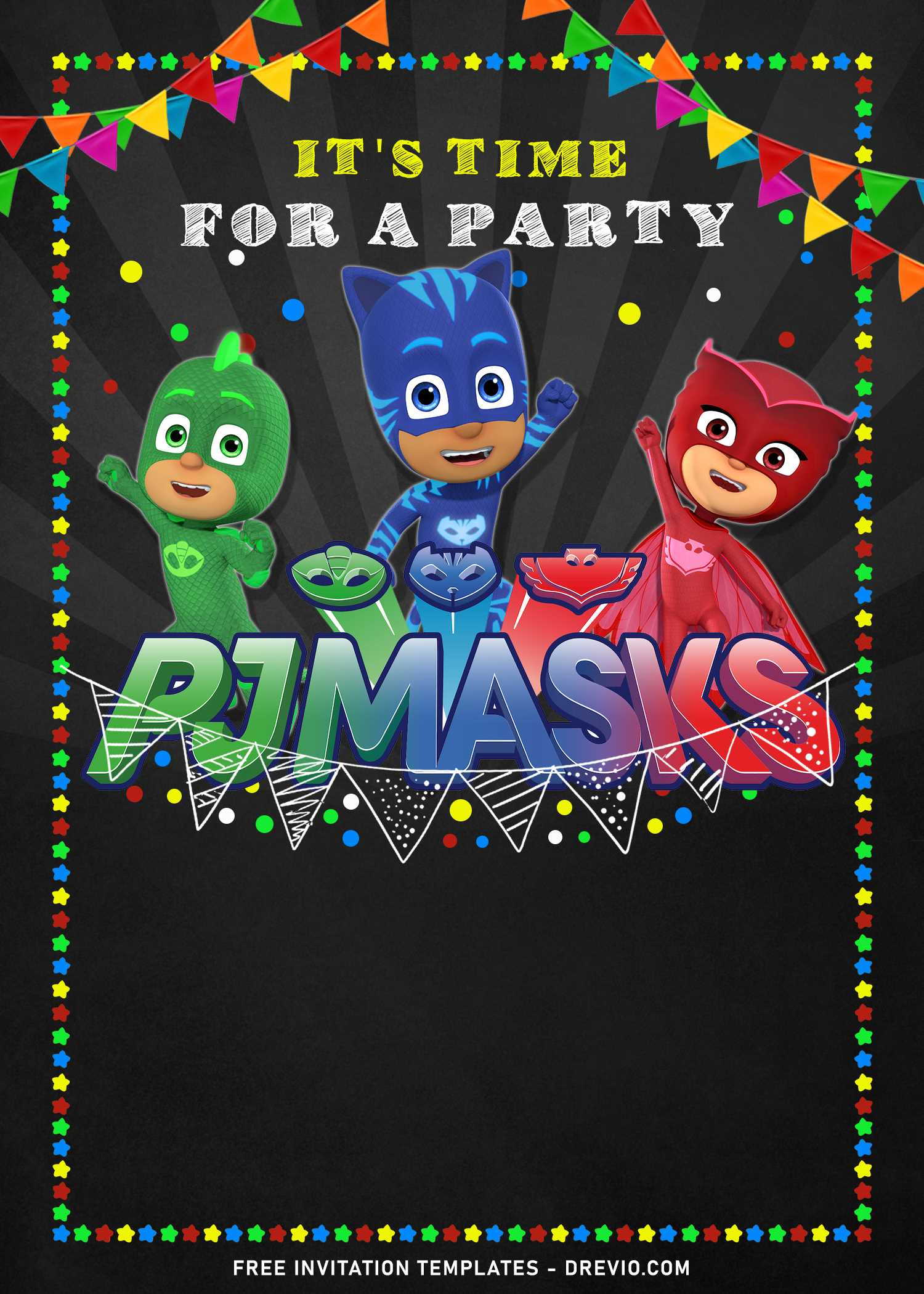 pj masks chalkboard birthday invitation