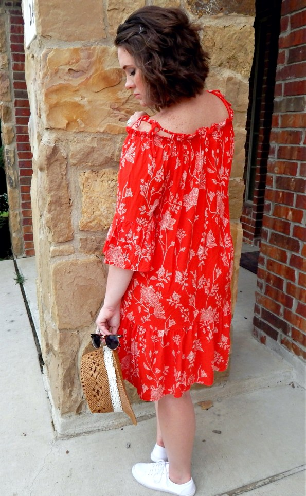 Boho Red Floral Off Shoulder Dress H&M