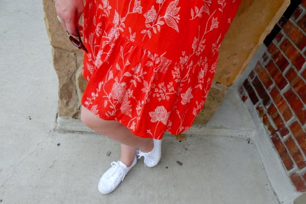 H&M White Canvas Sneakers Red Floral Dress