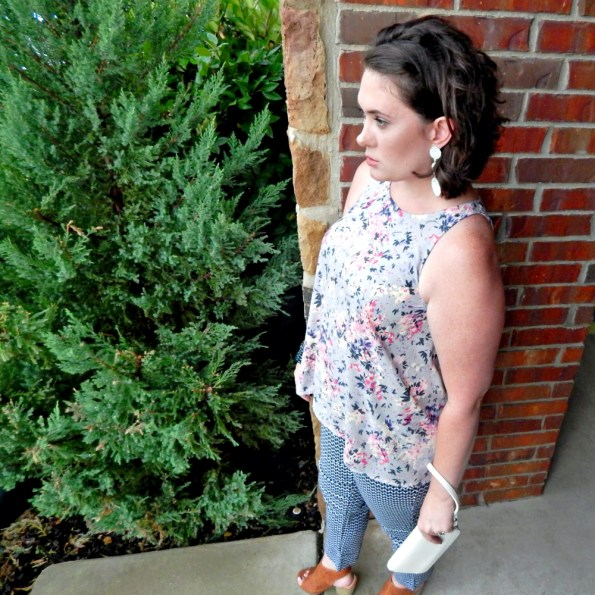 Old Navy Pink Navy Floral Tank