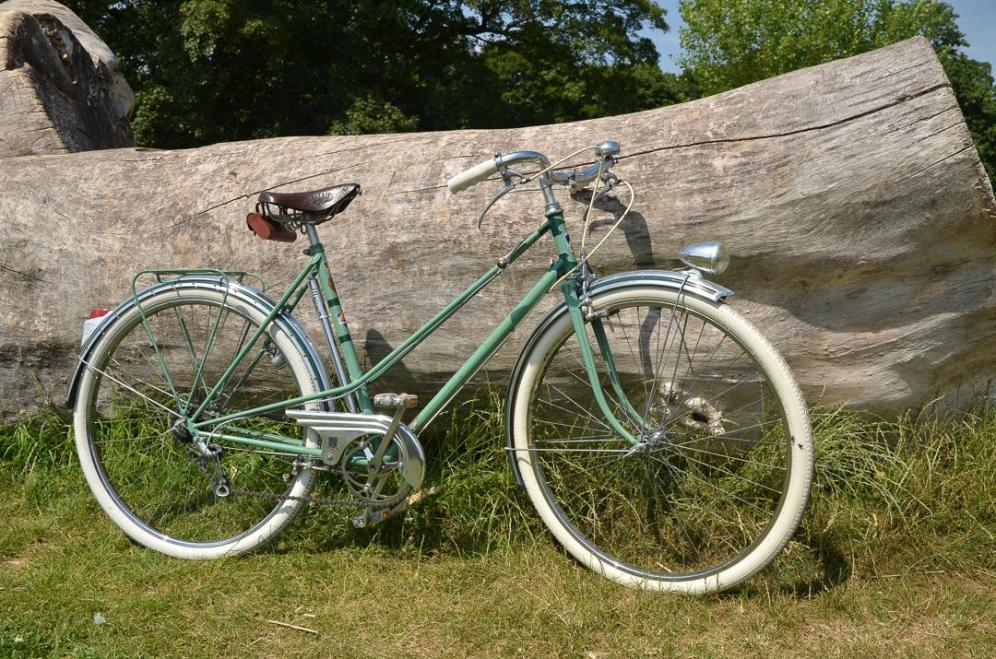 1950's Vintage Peugeot Bicycle Right side against a log